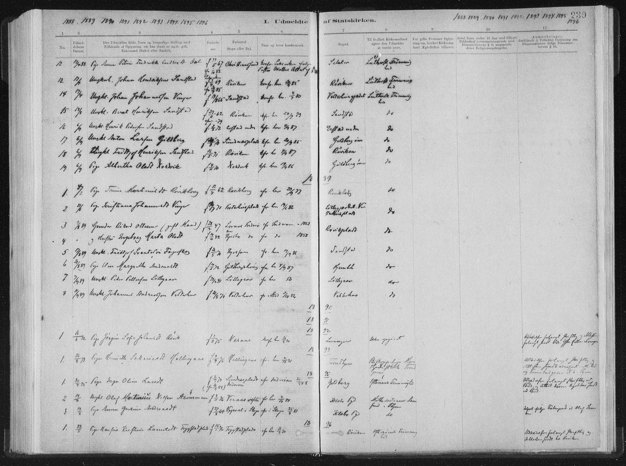 SAT, Ministerialprotokoller, klokkerbøker og fødselsregistre - Nord-Trøndelag, 722/L0220: Ministerialbok nr. 722A07, 1881-1908, s. 230