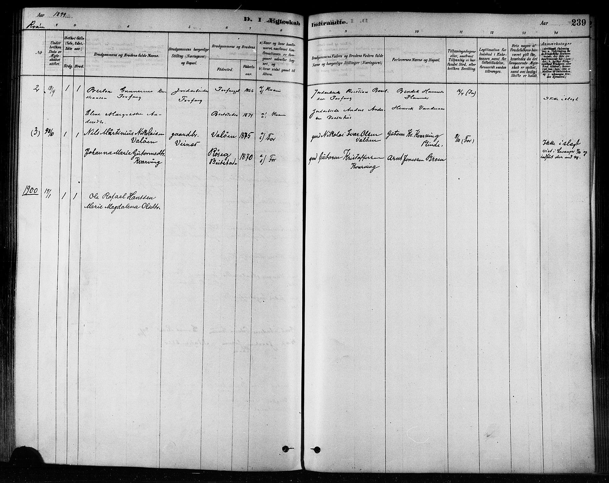 SAT, Ministerialprotokoller, klokkerbøker og fødselsregistre - Nord-Trøndelag, 746/L0449: Ministerialbok nr. 746A07 /2, 1878-1899, s. 239