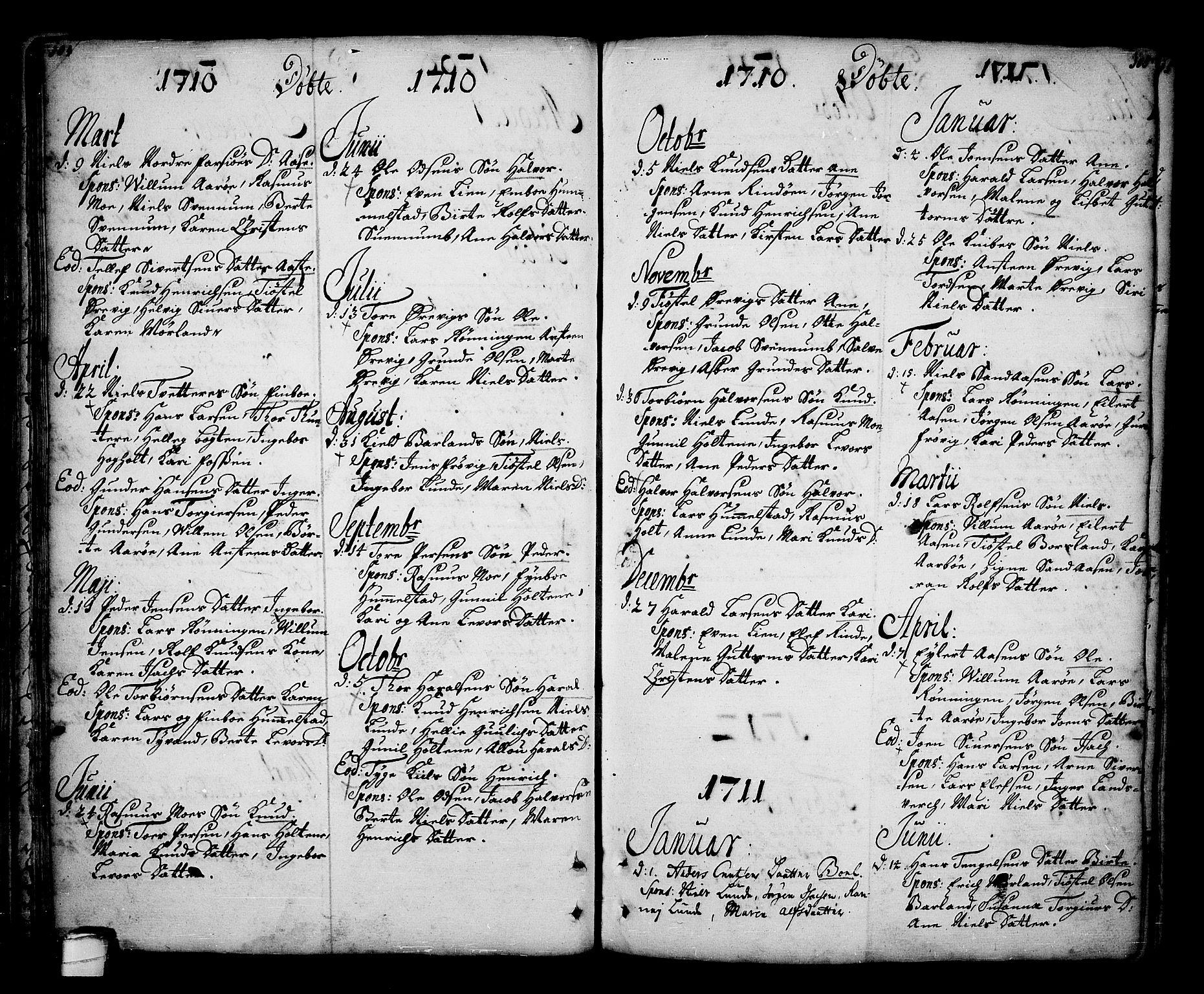 SAKO, Sannidal kirkebøker, F/Fa/L0001: Ministerialbok nr. 1, 1702-1766, s. 104-105