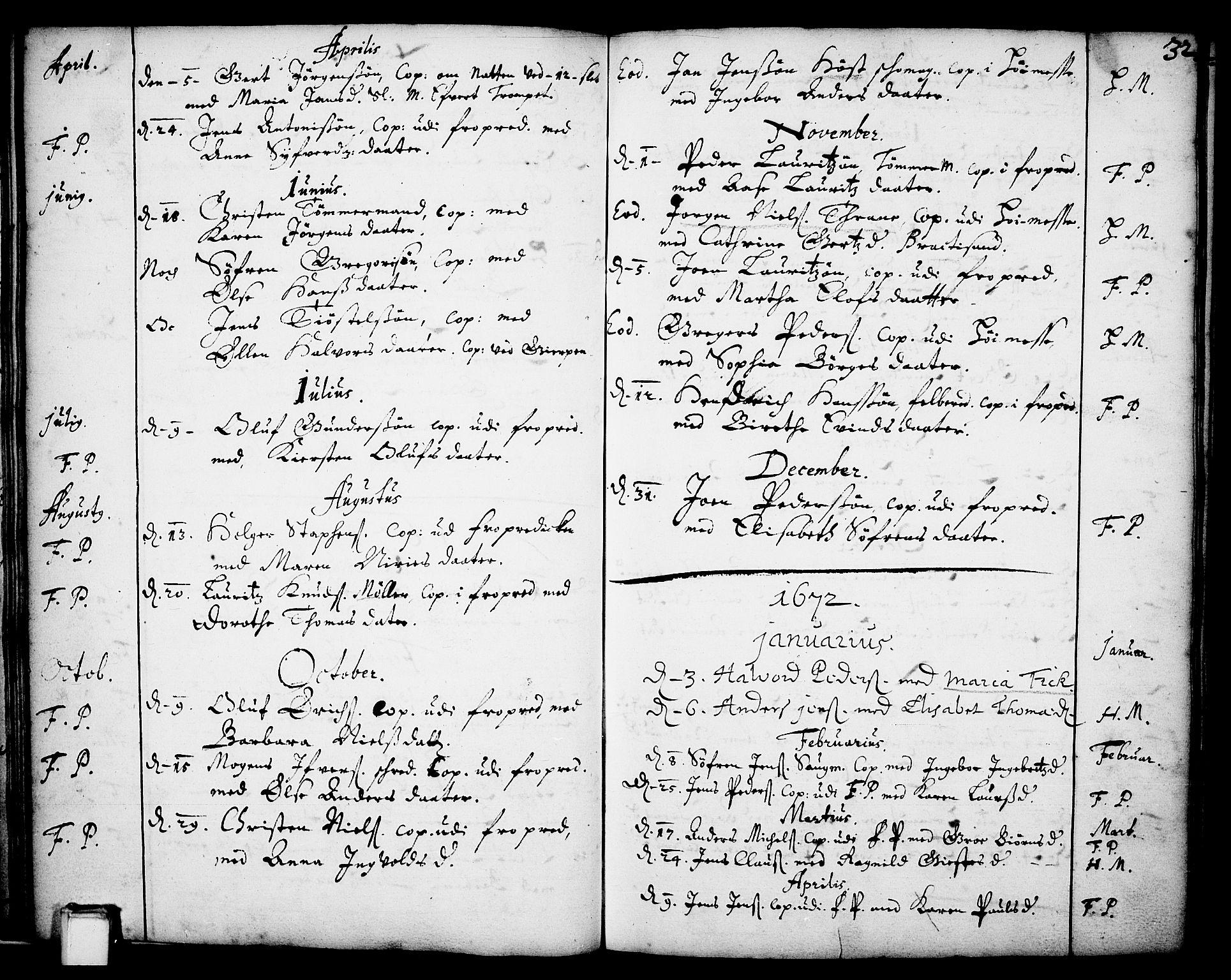 SAKO, Skien kirkebøker, F/Fa/L0001: Ministerialbok nr. 1, 1659-1679, s. 32