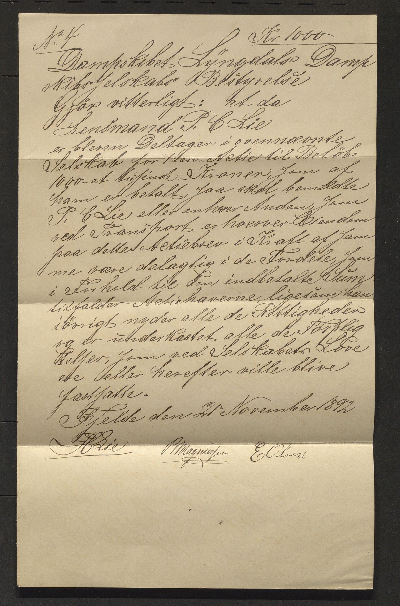 IKAH, Lyngedals dampskipsselskap, E/Ea/L0001: Korrespondanse , 1892