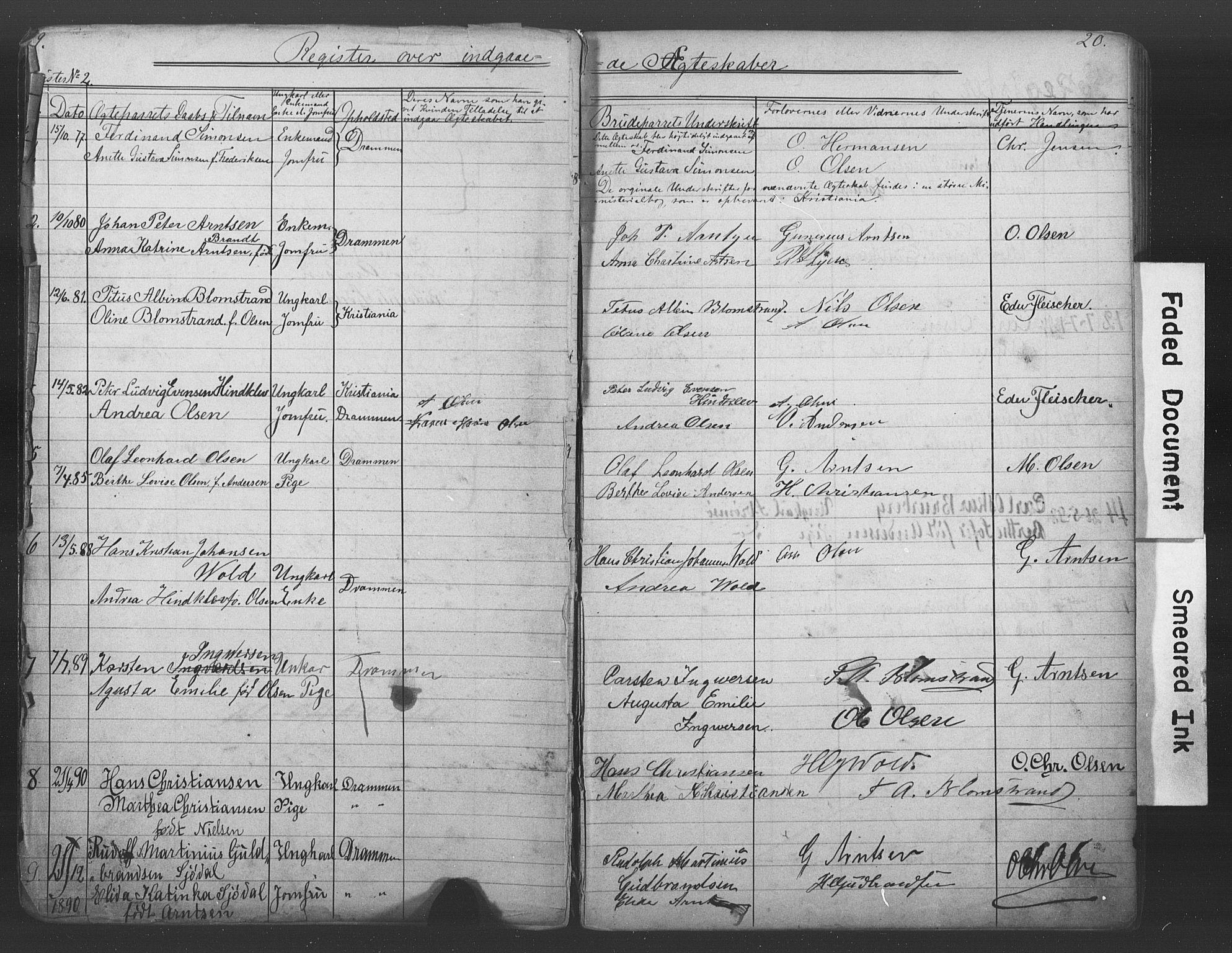 SAKO, Den katolsk-apostoliske menighet i Drammen, H/Ha/L0001: Dissenterprotokoll nr. 1, 1877-1899, s. 19-20