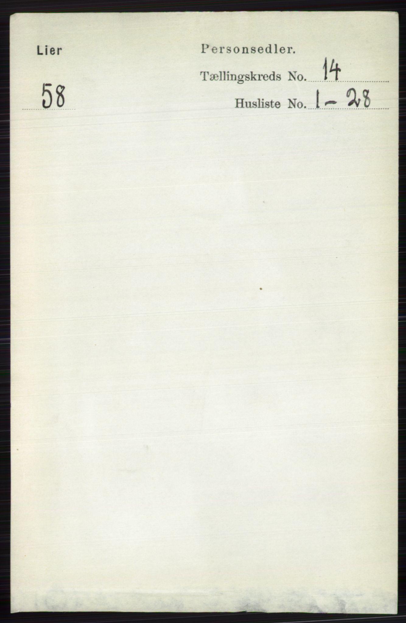 RA, Folketelling 1891 for 0626 Lier herred, 1891, s. 8265
