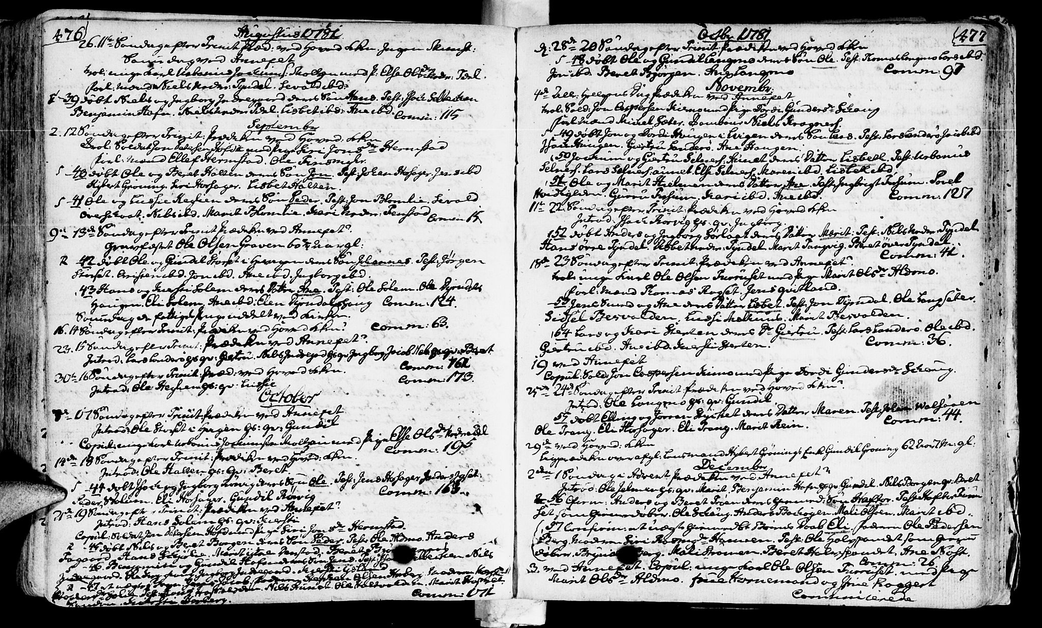 SAT, Ministerialprotokoller, klokkerbøker og fødselsregistre - Sør-Trøndelag, 646/L0605: Ministerialbok nr. 646A03, 1751-1790, s. 476-477