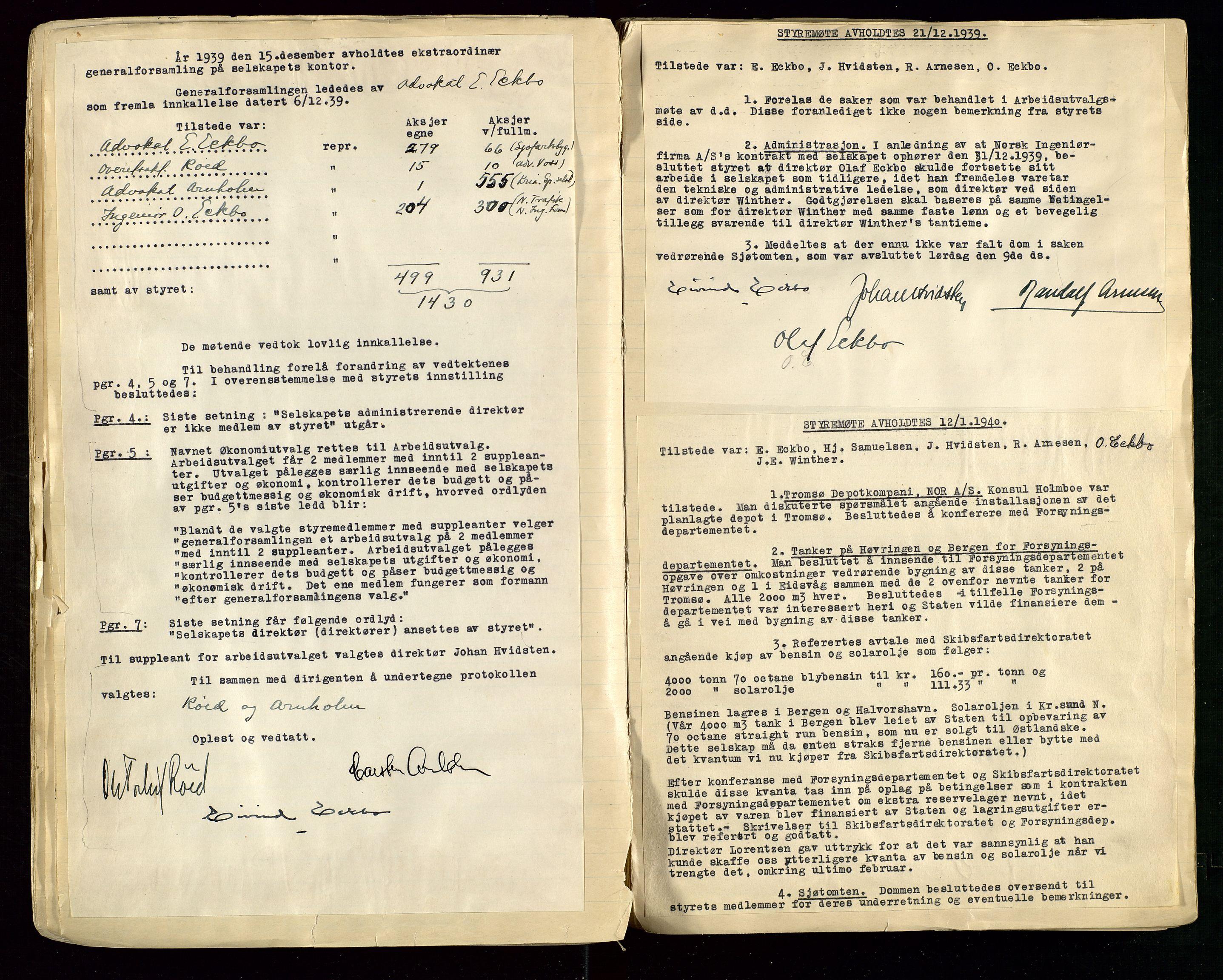 SAST, PA 1514 - Sporveienes Bensindepot, Norsk Oljeraffineri A/S, A/L0001: Styreprotokoll. Forhandlingsprotokoll Arbeidsutvaget, 1932-1949, s. 55