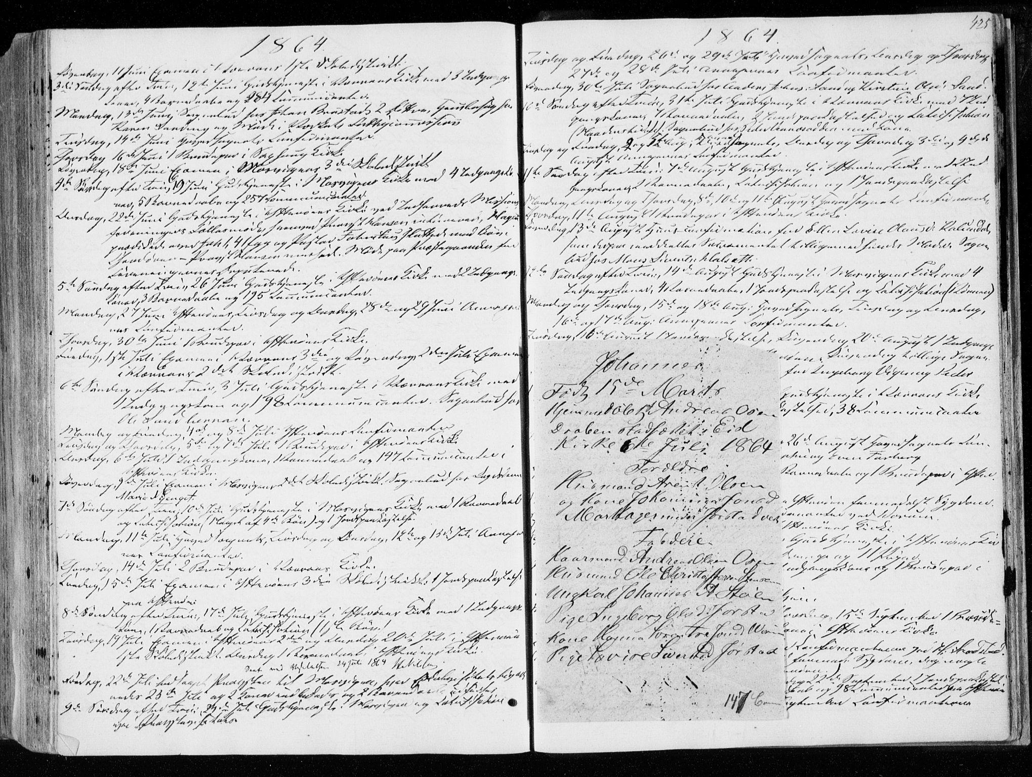 SAT, Ministerialprotokoller, klokkerbøker og fødselsregistre - Nord-Trøndelag, 722/L0218: Ministerialbok nr. 722A05, 1843-1868, s. 425