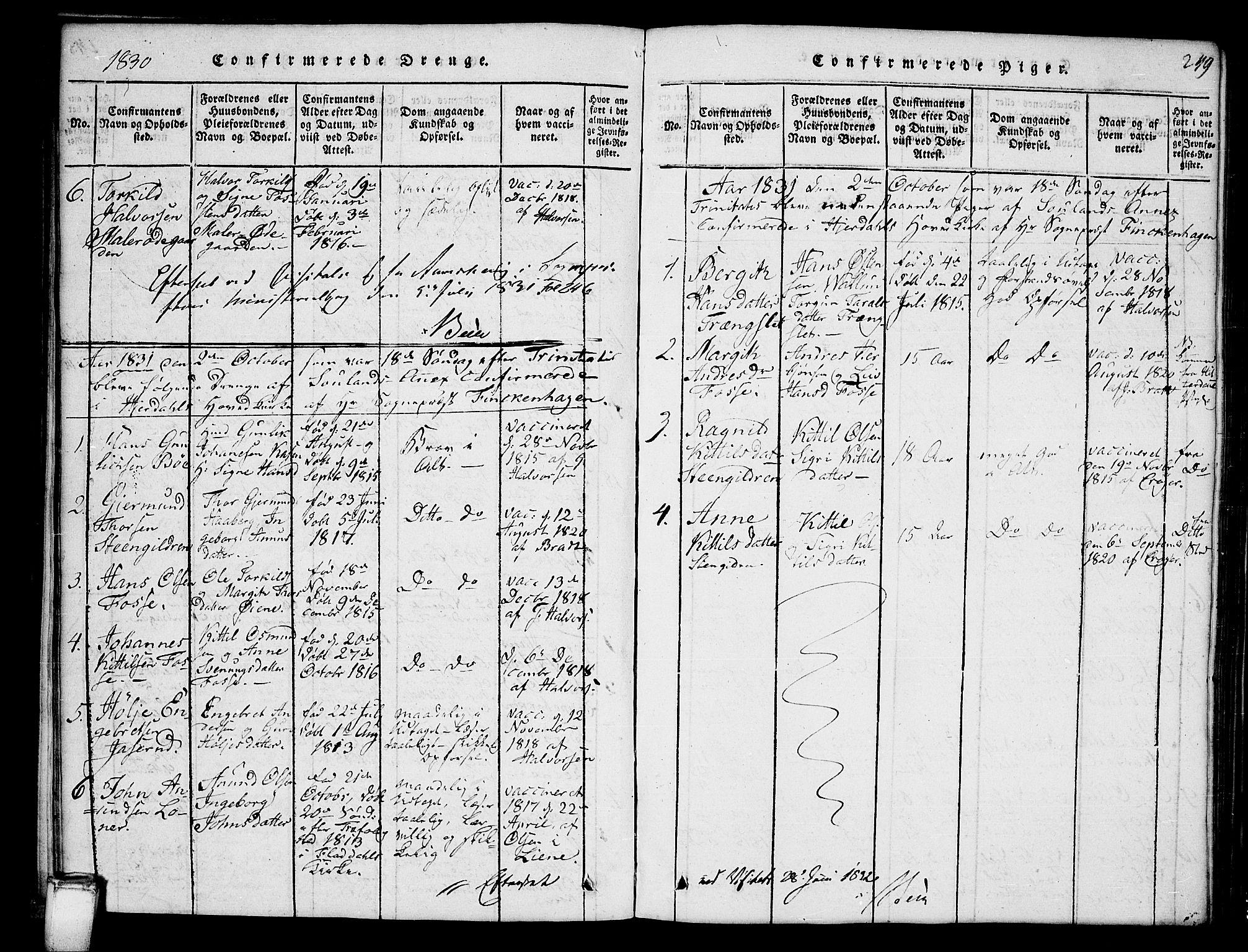 SAKO, Hjartdal kirkebøker, G/Gb/L0001: Klokkerbok nr. II 1, 1815-1842, s. 249
