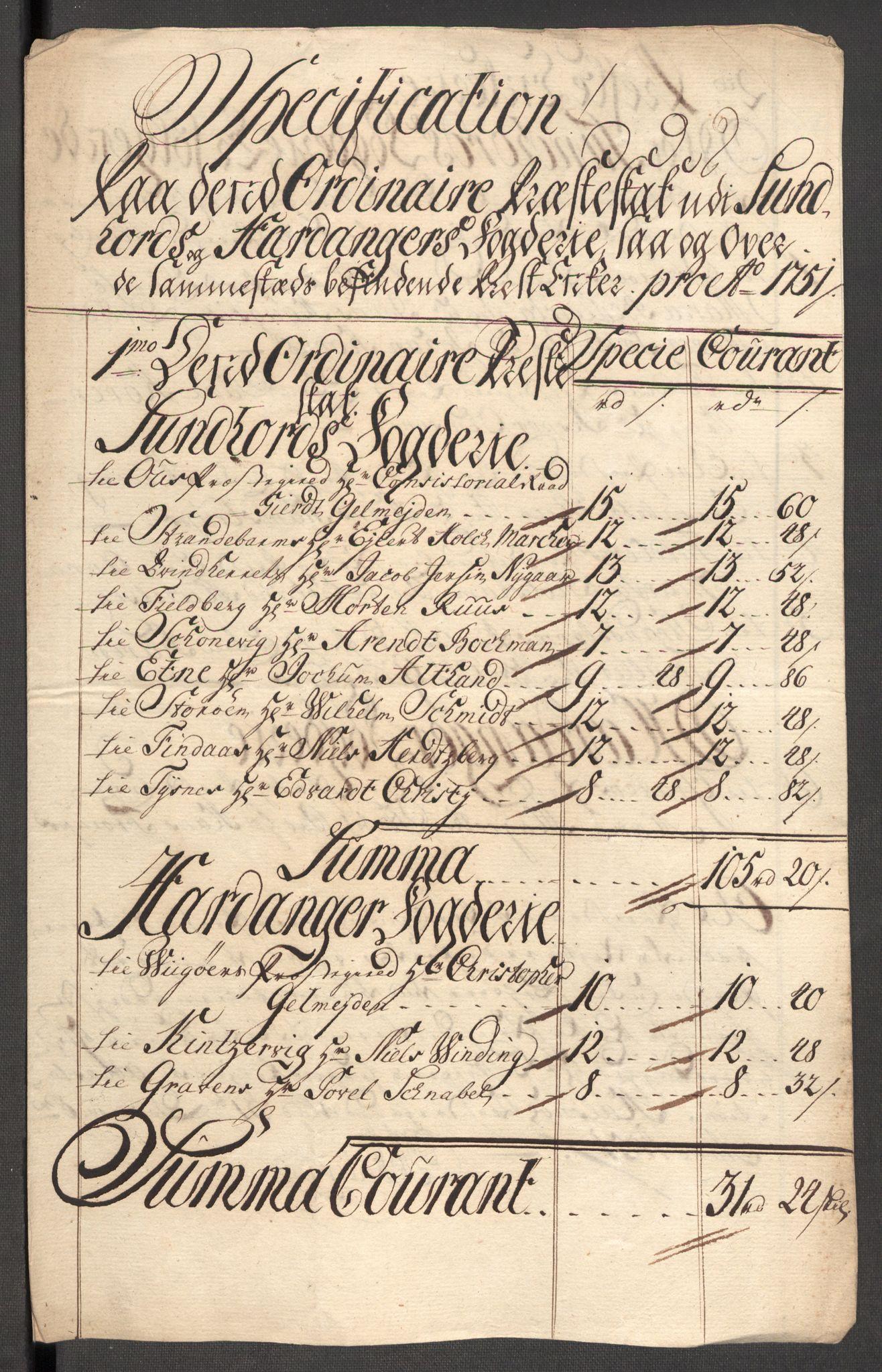 RA, Rentekammeret inntil 1814, Reviderte regnskaper, Fogderegnskap, R48/L3056: Fogderegnskap Sunnhordland og Hardanger, 1751, s. 138