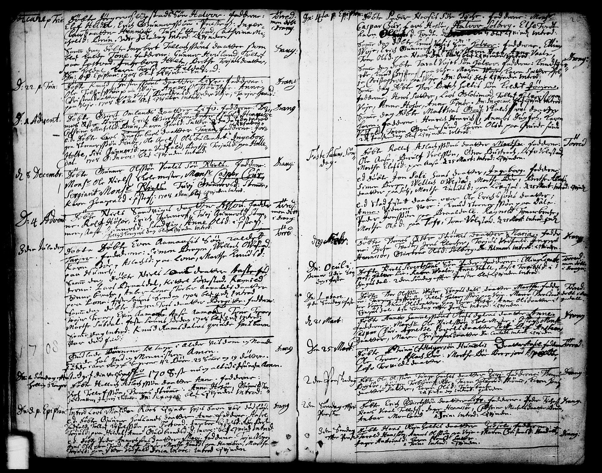 SAKO, Drangedal kirkebøker, F/Fa/L0001: Ministerialbok nr. 1, 1697-1767, s. 20