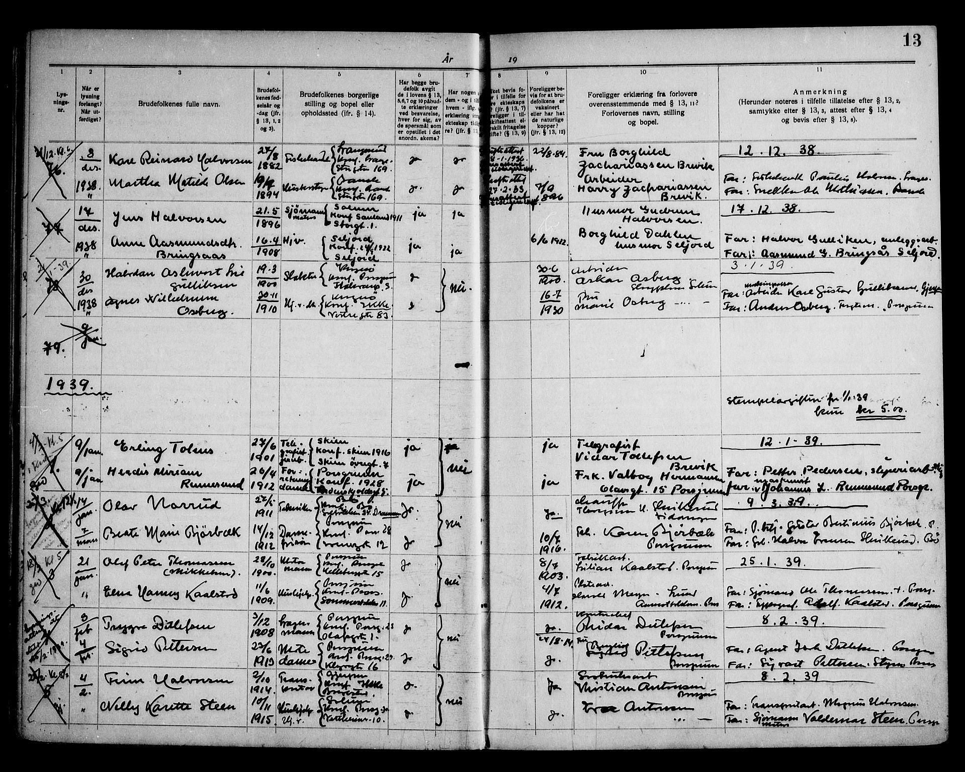 SAKO, Porsgrunn kirkebøker , H/Ha/L0002: Lysningsprotokoll nr. 2, 1937-1952, s. 13