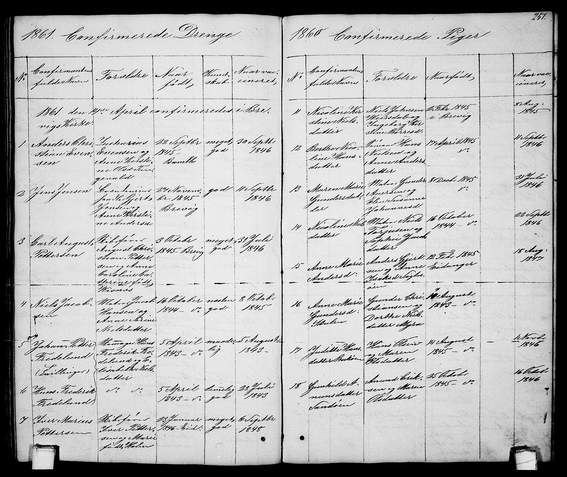 SAKO, Brevik kirkebøker, G/Ga/L0002: Klokkerbok nr. 2, 1846-1865, s. 251