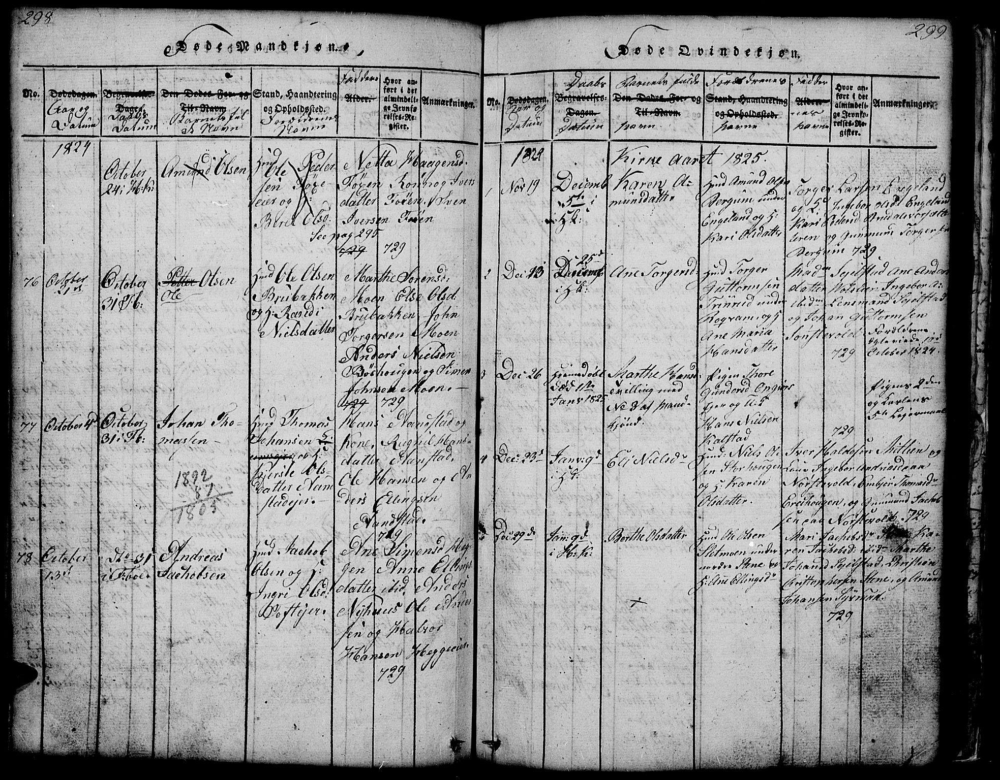SAH, Gausdal prestekontor, Klokkerbok nr. 1, 1817-1848, s. 298-299