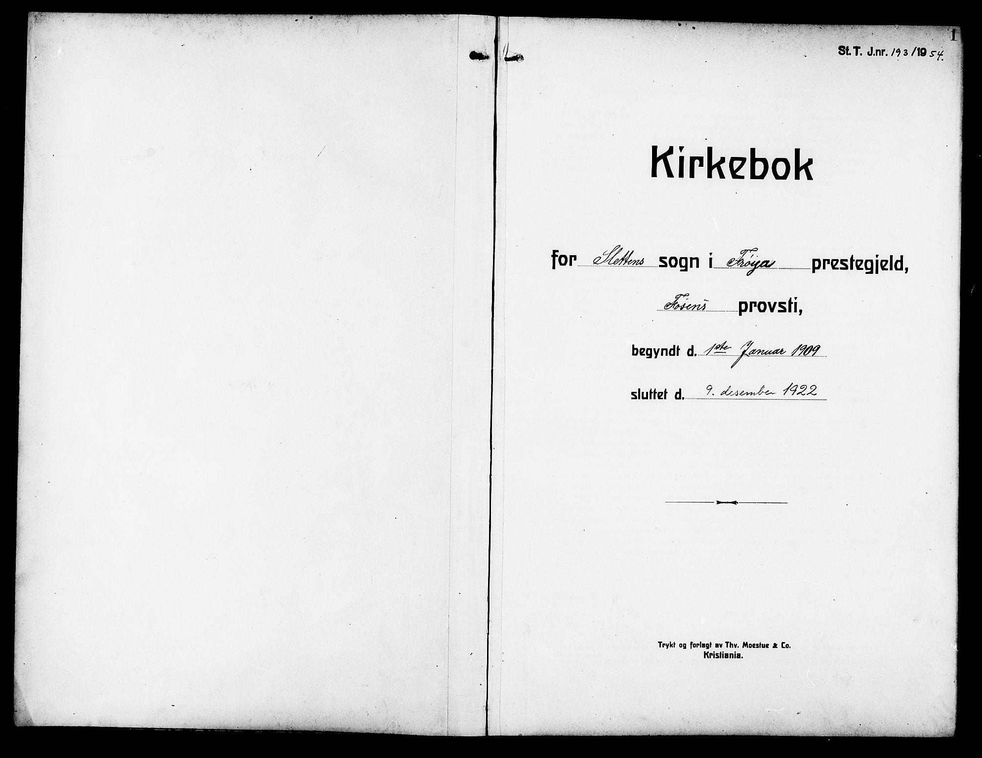 SAT, Ministerialprotokoller, klokkerbøker og fødselsregistre - Sør-Trøndelag, 640/L0588: Klokkerbok nr. 640C05, 1909-1922, s. 1