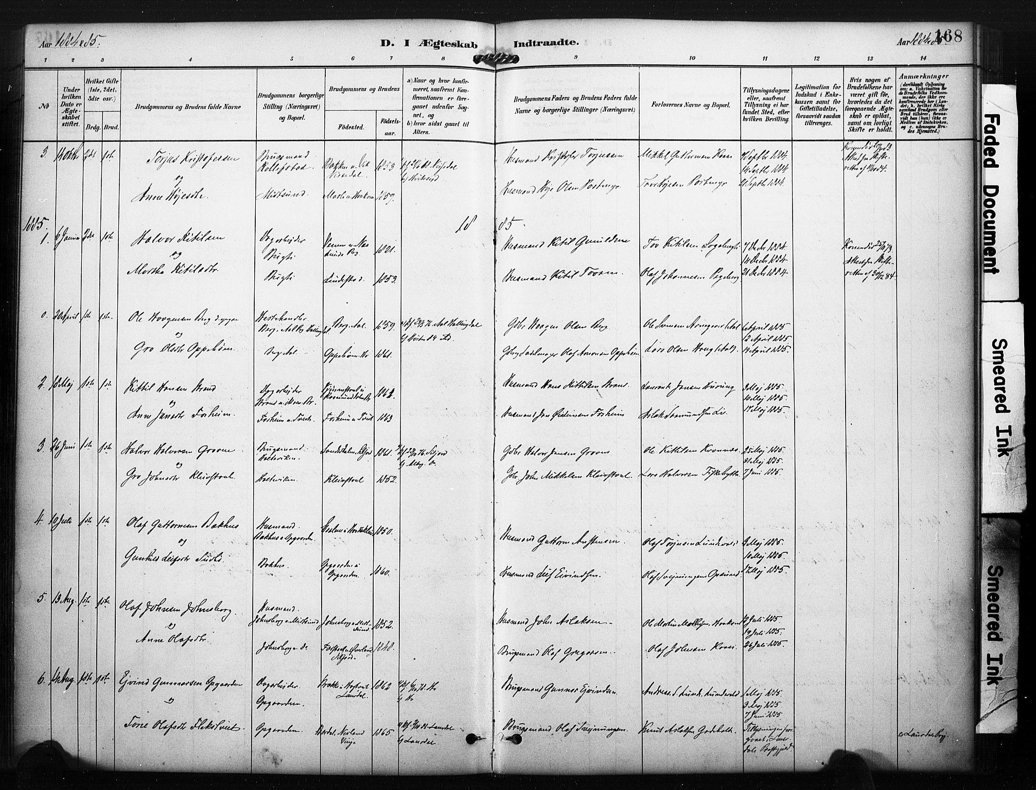 SAKO, Kviteseid kirkebøker, F/Fa/L0008: Ministerialbok nr. I 8, 1882-1903, s. 168