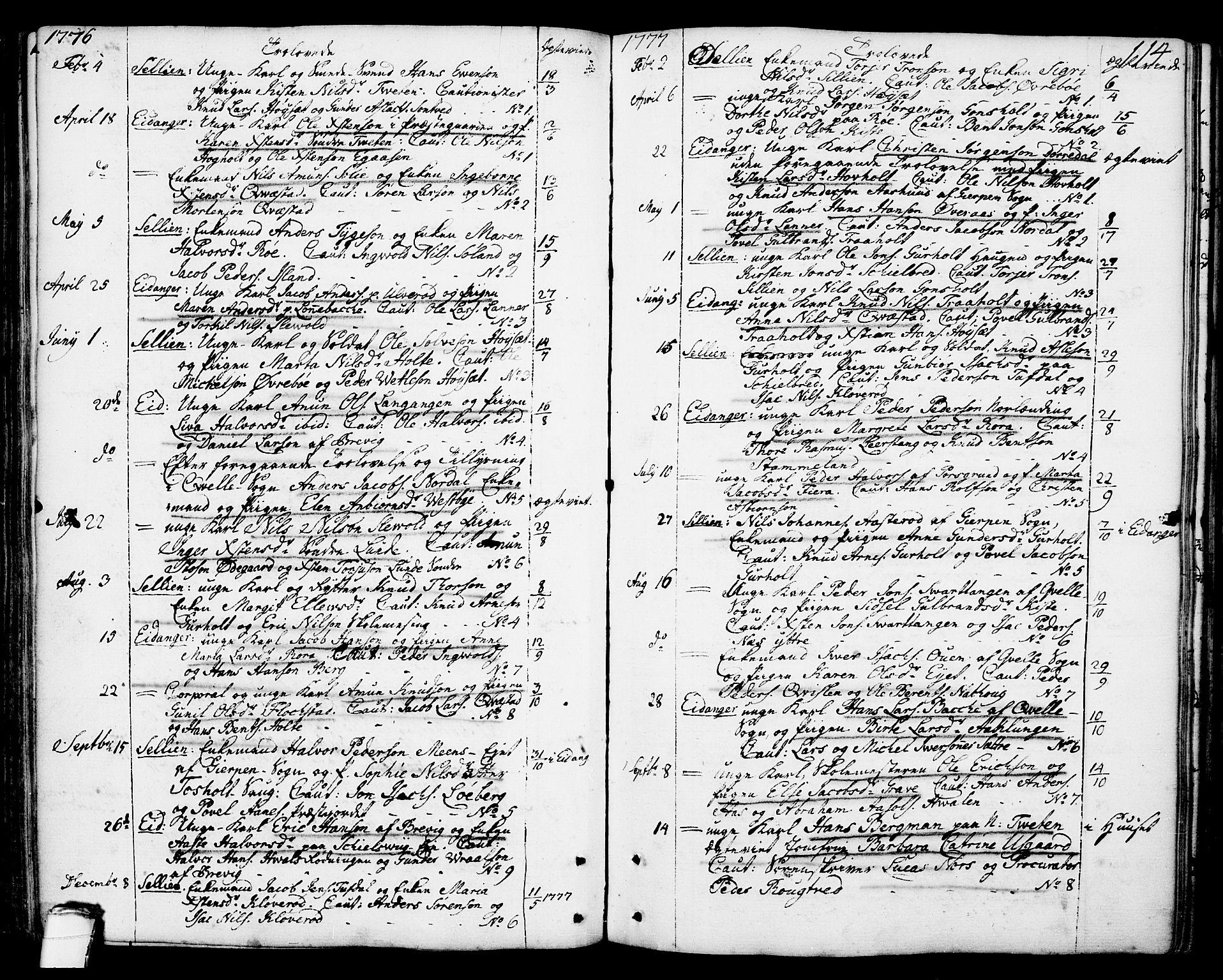 SAKO, Eidanger kirkebøker, F/Fa/L0006: Ministerialbok nr. 6, 1764-1814, s. 114