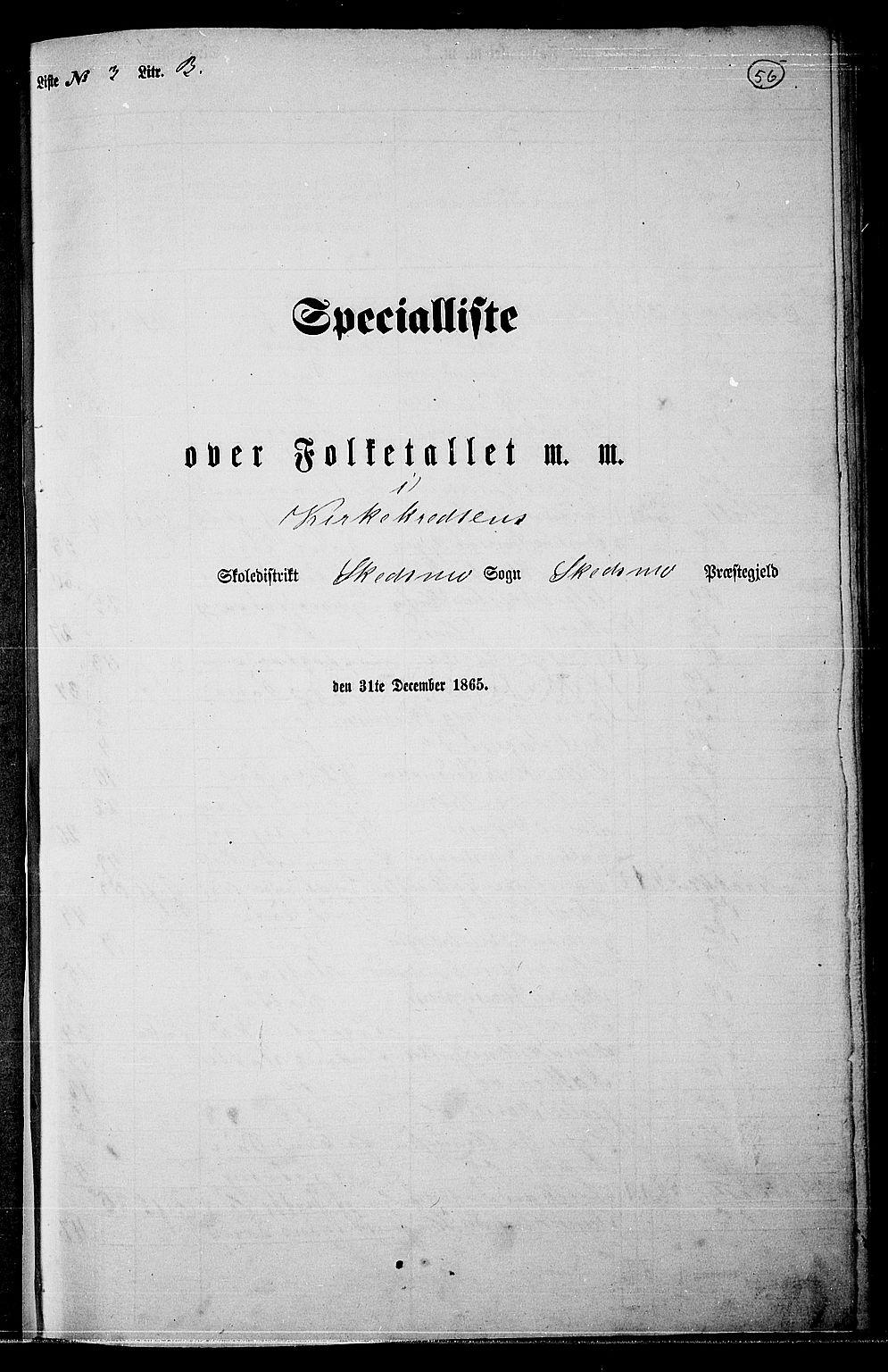 RA, Folketelling 1865 for 0231P Skedsmo prestegjeld, 1865, s. 52