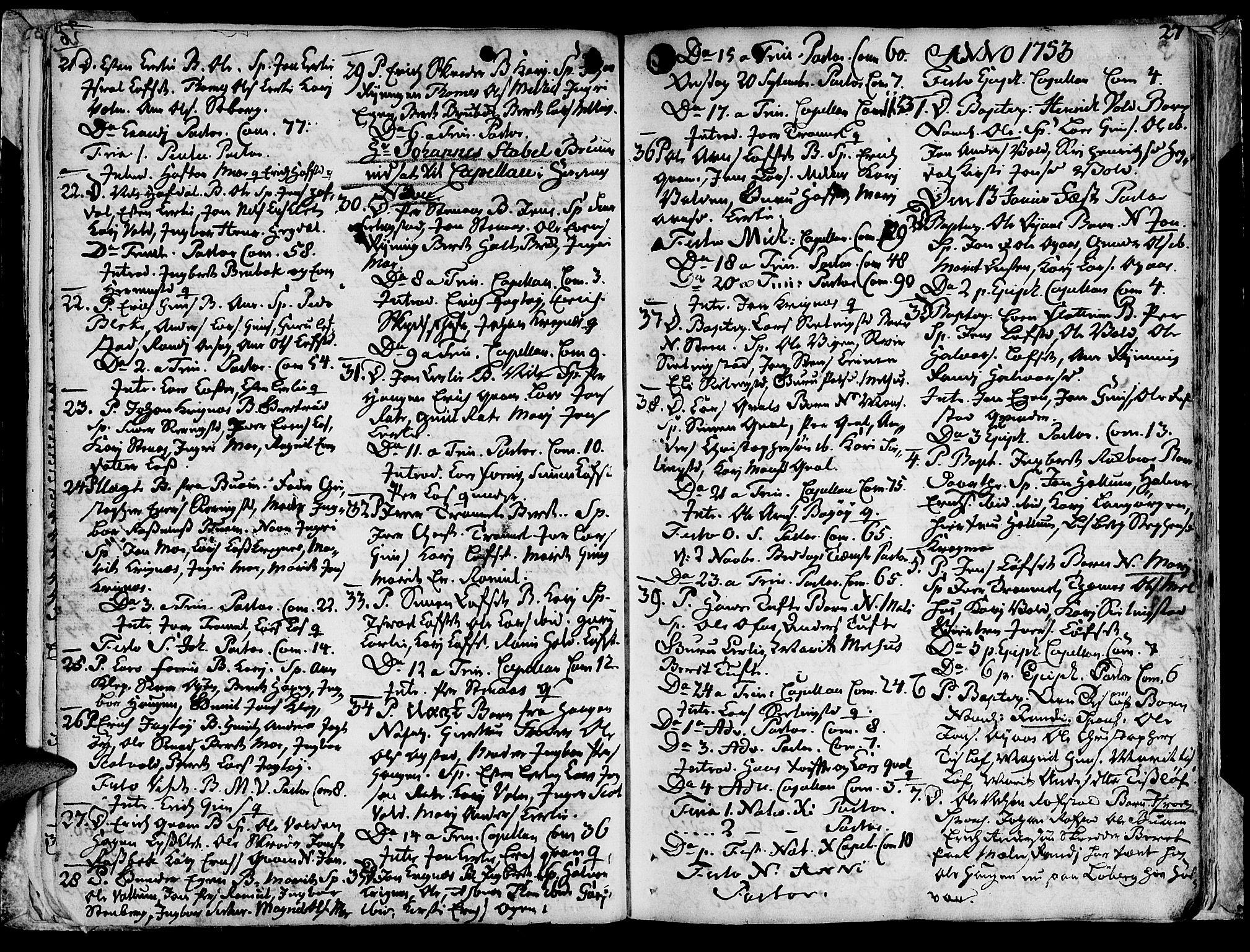 SAT, Ministerialprotokoller, klokkerbøker og fødselsregistre - Sør-Trøndelag, 691/L1057: Ministerialbok nr. 691A01 /1, 1740-1767, s. 27