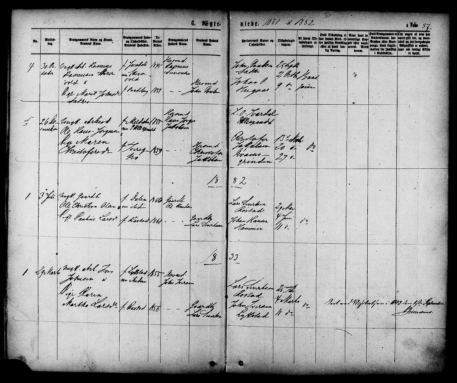 SAT, Ministerialprotokoller, klokkerbøker og fødselsregistre - Sør-Trøndelag, 608/L0334: Ministerialbok nr. 608A03, 1877-1886, s. 57