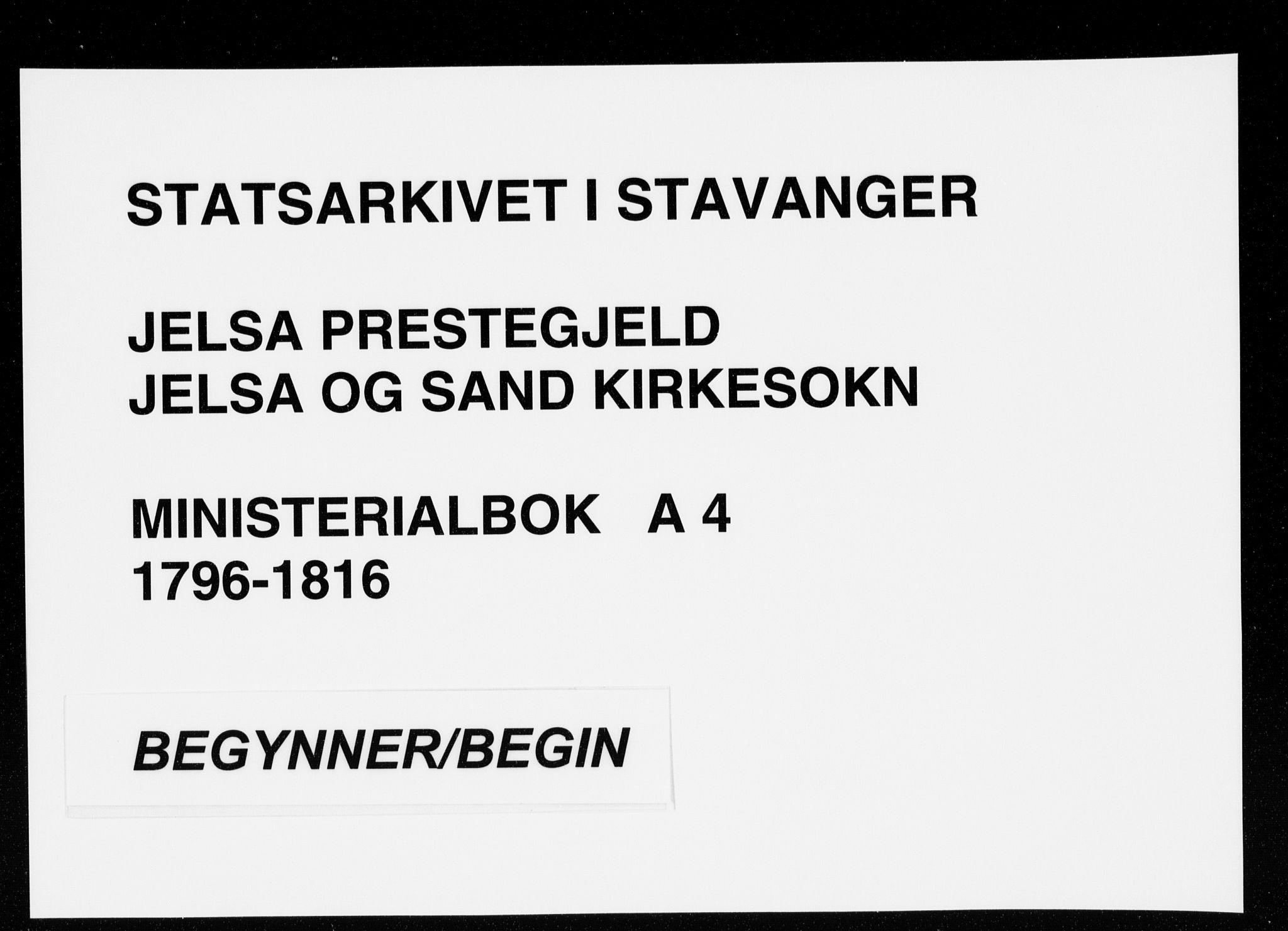 SAST, Jelsa sokneprestkontor, IV: Ministerialbok nr. A 4, 1796-1816