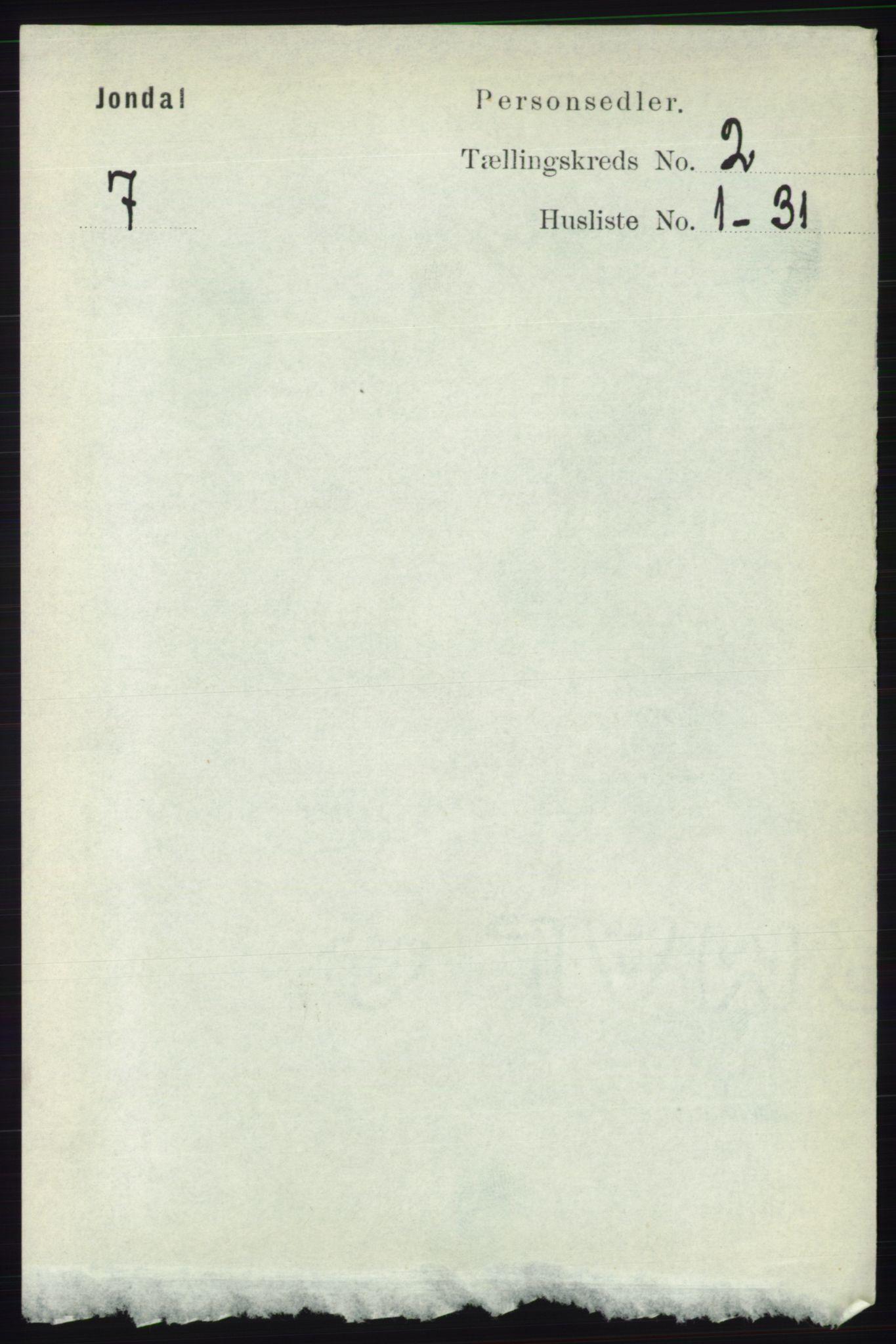 RA, Folketelling 1891 for 1227 Jondal herred, 1891, s. 837