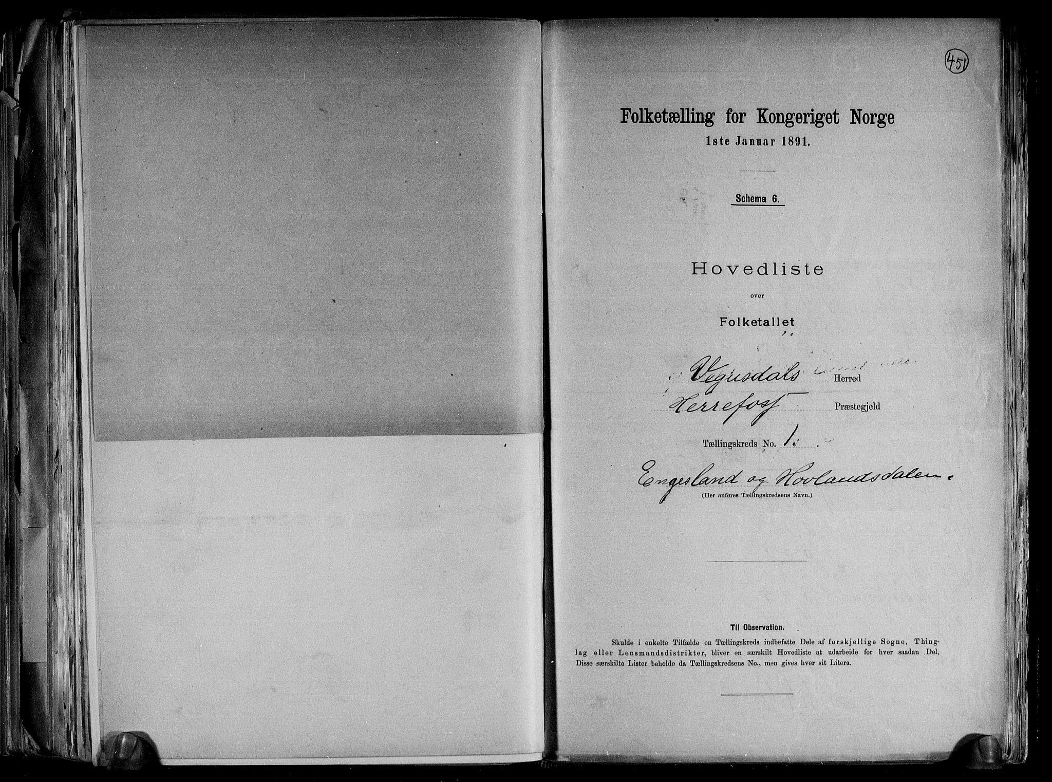 RA, Folketelling 1891 for 0934 Vegusdal herred, 1891, s. 5