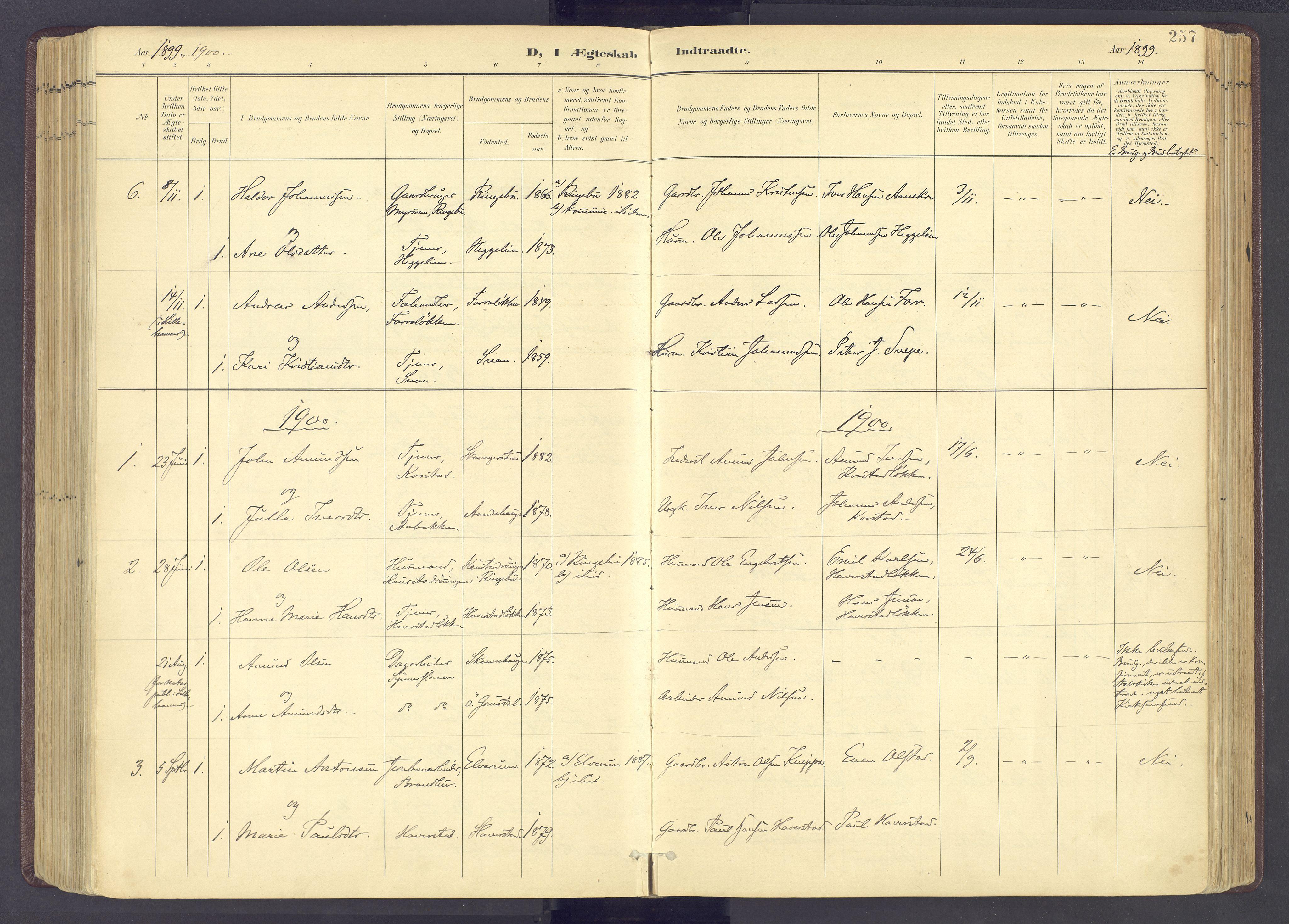 SAH, Sør-Fron prestekontor, H/Ha/Haa/L0004: Ministerialbok nr. 4, 1898-1919, s. 257
