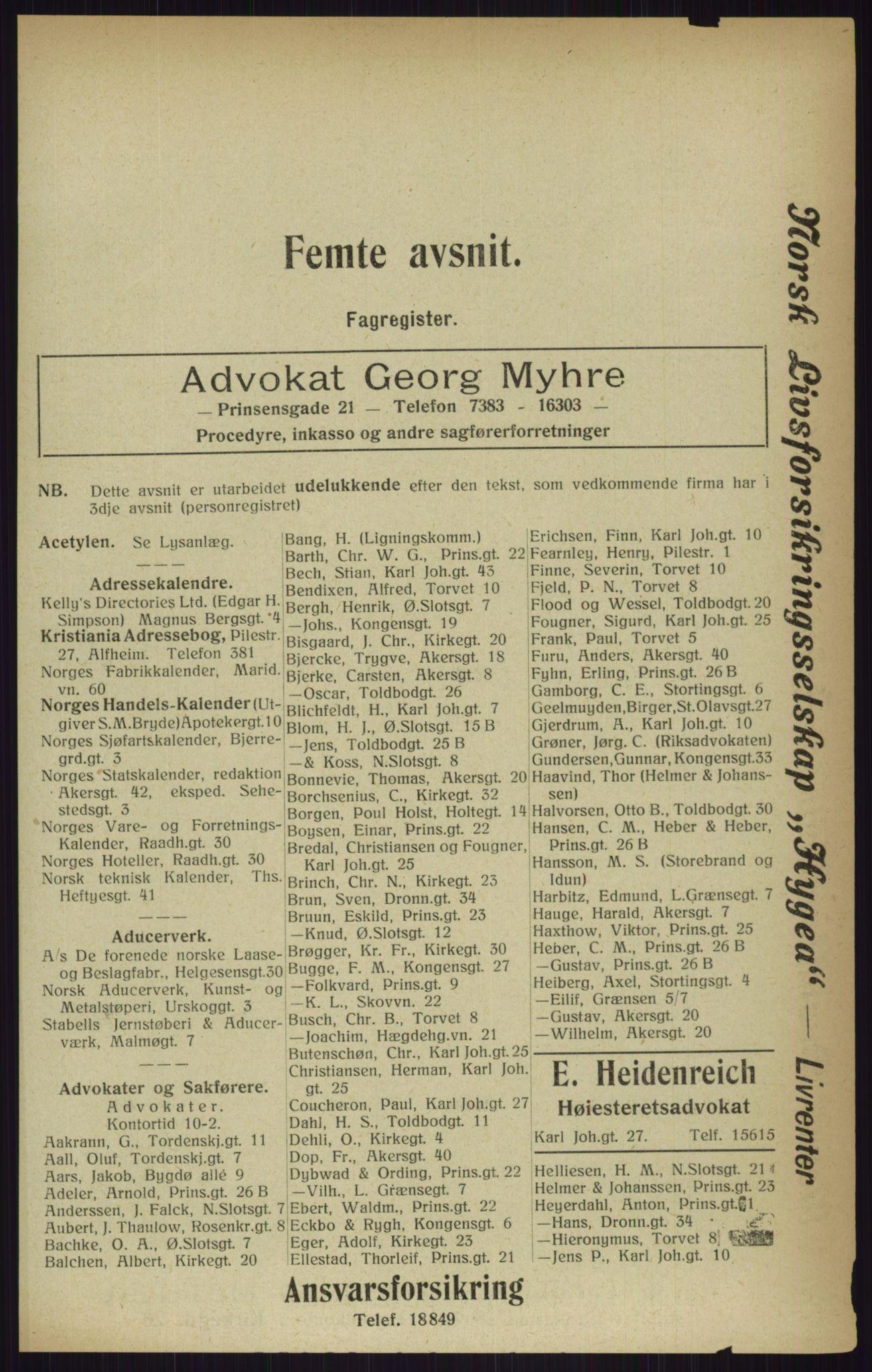 RA, Kristiania adressebok (publikasjon)*, 1916, s. 1817