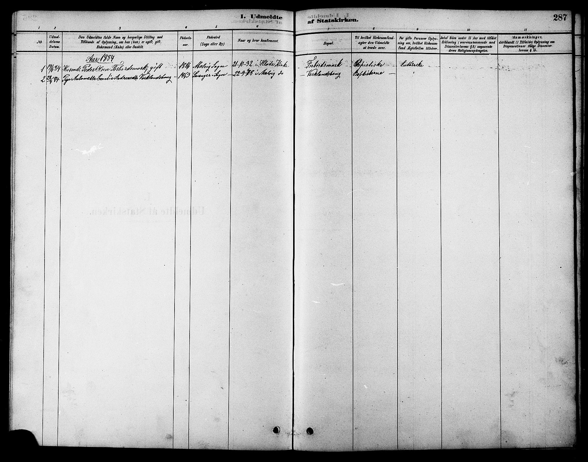 SAT, Ministerialprotokoller, klokkerbøker og fødselsregistre - Sør-Trøndelag, 616/L0423: Klokkerbok nr. 616C06, 1878-1903, s. 287