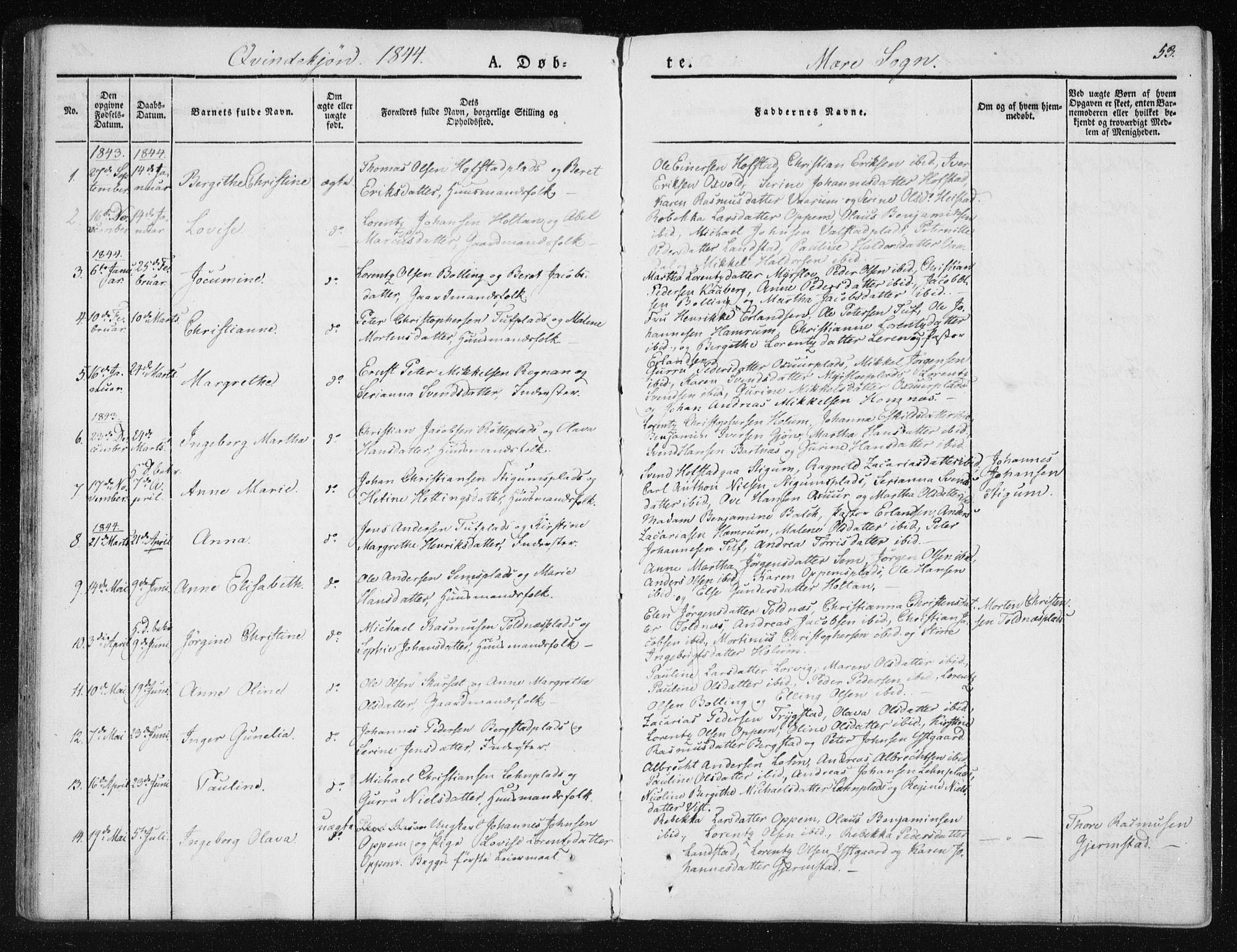 SAT, Ministerialprotokoller, klokkerbøker og fødselsregistre - Nord-Trøndelag, 735/L0339: Ministerialbok nr. 735A06 /1, 1836-1848, s. 53