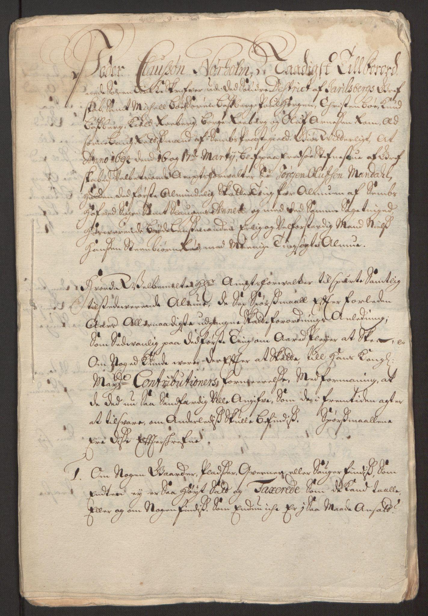 RA, Rentekammeret inntil 1814, Reviderte regnskaper, Fogderegnskap, R32/L1867: Fogderegnskap Jarlsberg grevskap, 1694-1696, s. 48