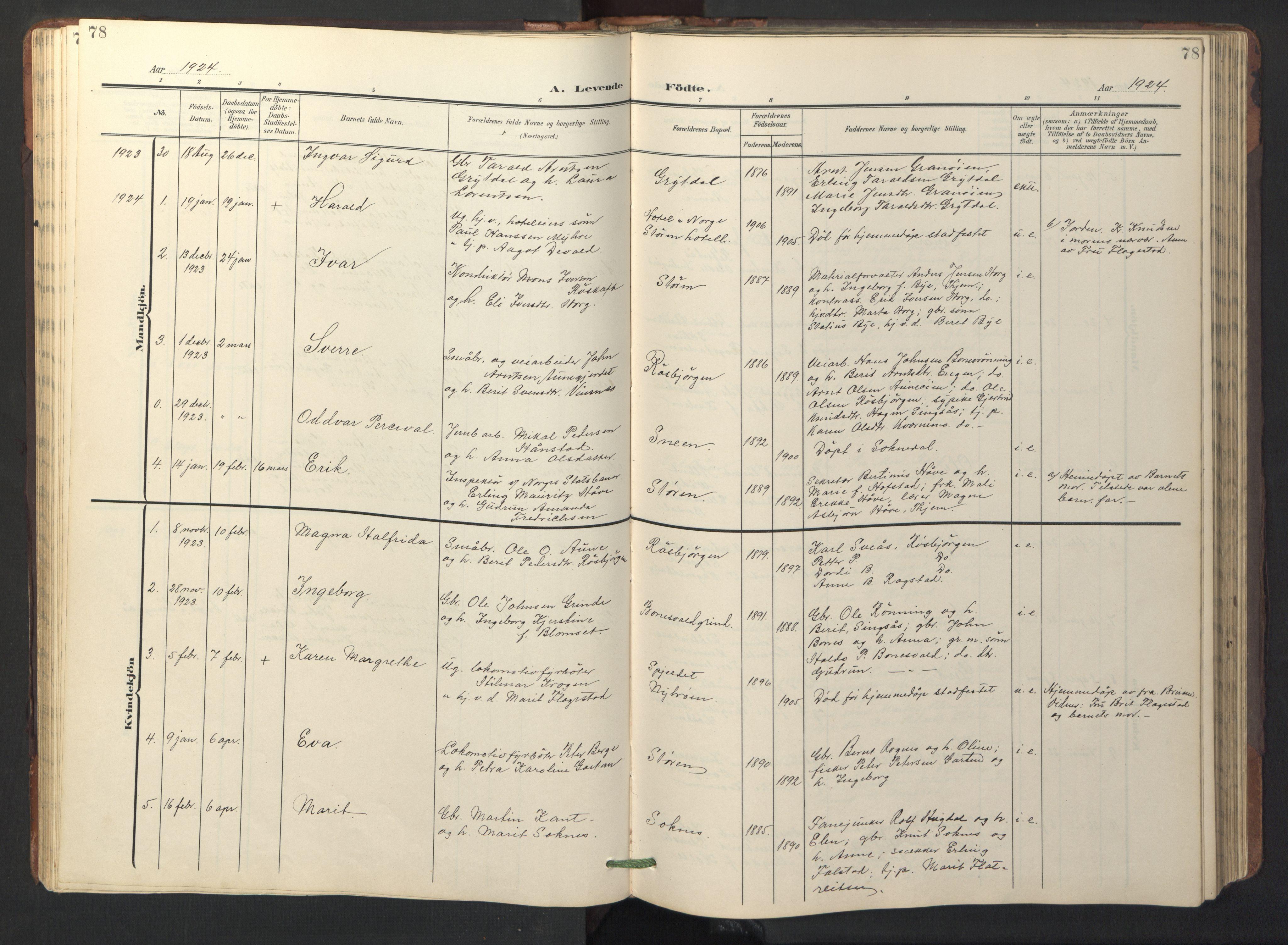 SAT, Ministerialprotokoller, klokkerbøker og fødselsregistre - Sør-Trøndelag, 687/L1019: Klokkerbok nr. 687C03, 1904-1931, s. 78