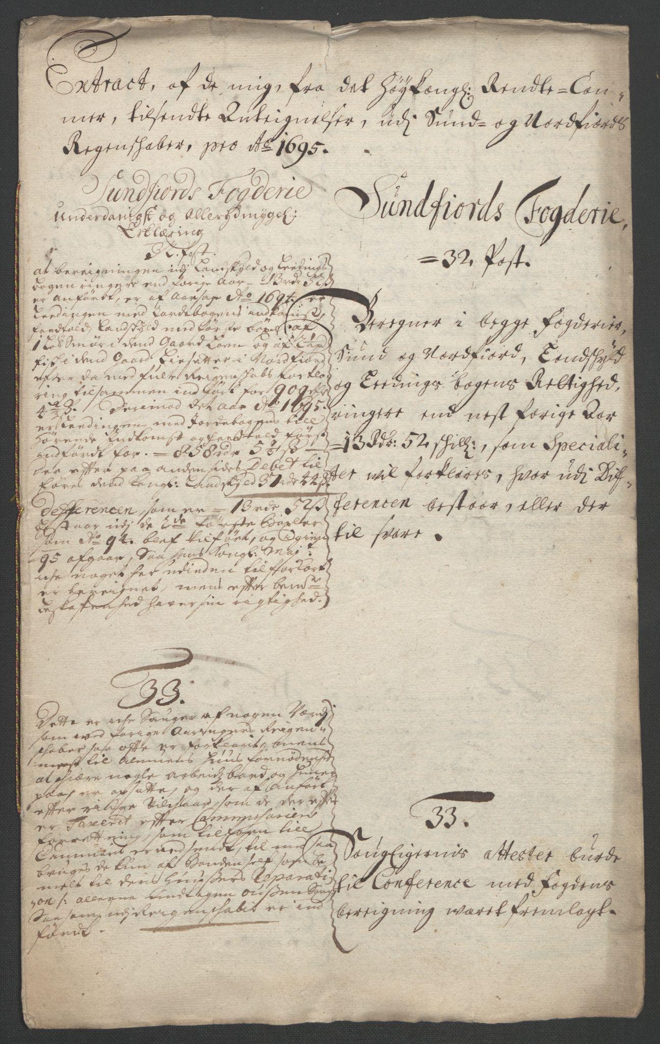 RA, Rentekammeret inntil 1814, Reviderte regnskaper, Fogderegnskap, R53/L3422: Fogderegnskap Sunn- og Nordfjord, 1695-1696, s. 210