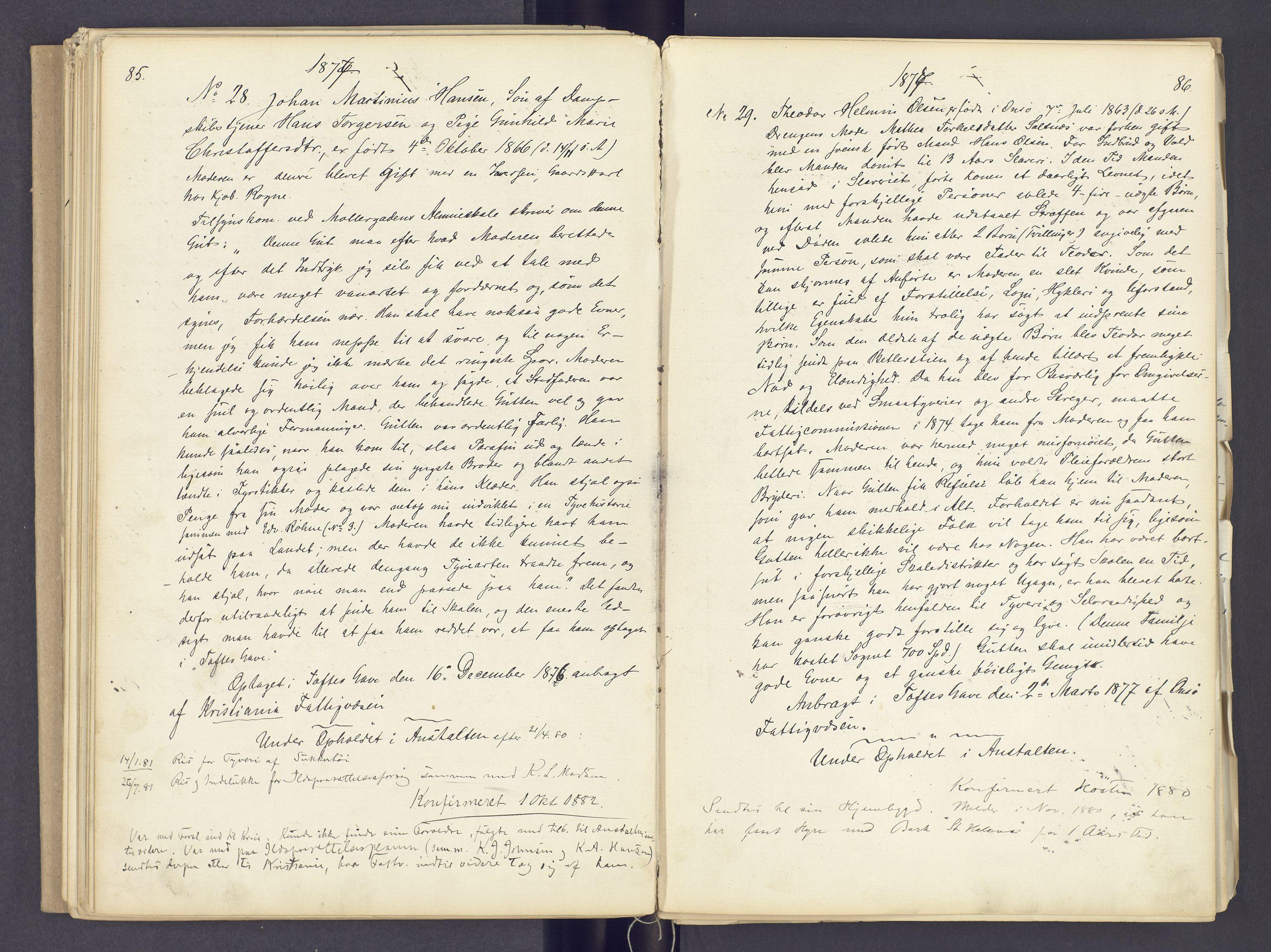 SAH, Toftes Gave, F/Fc/L0002: Elevprotokoll, 1870-1885, s. 85-86