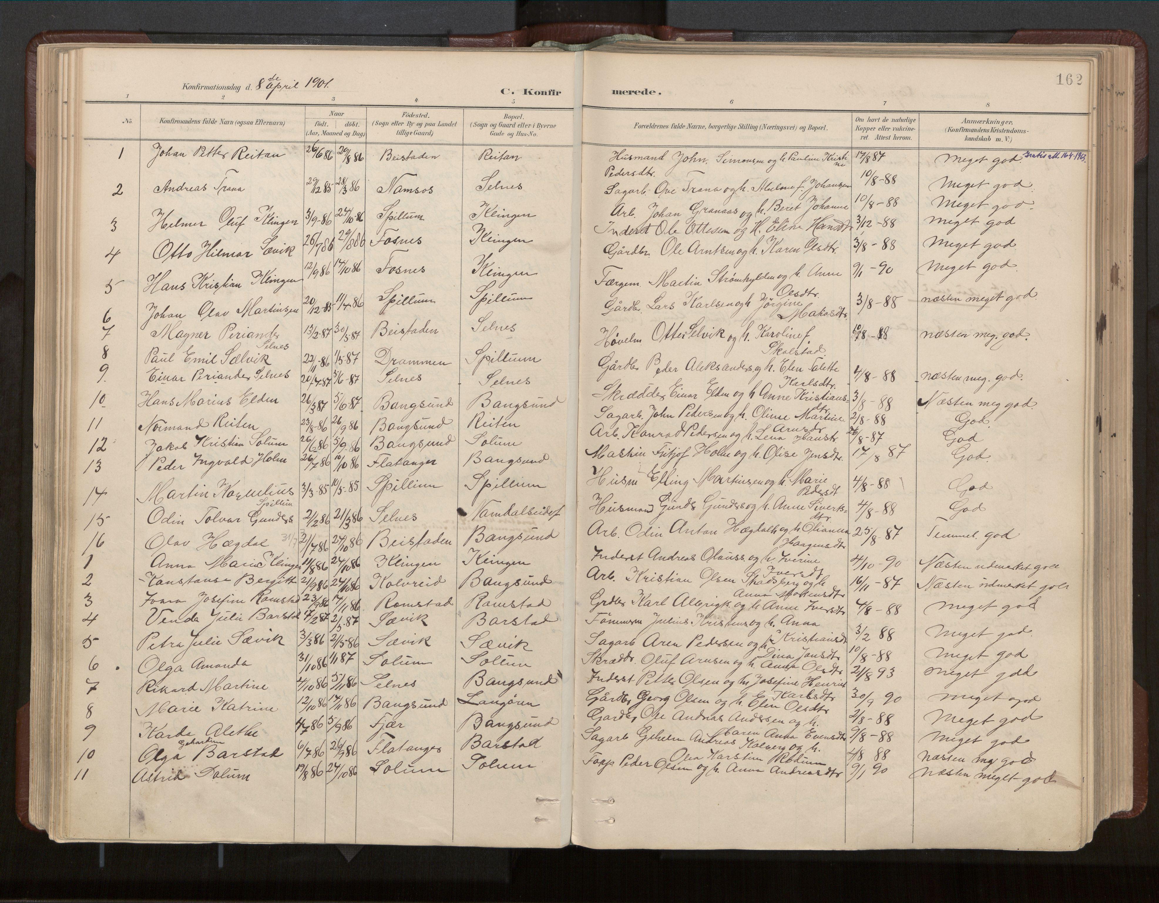 SAT, Ministerialprotokoller, klokkerbøker og fødselsregistre - Nord-Trøndelag, 770/L0589: Ministerialbok nr. 770A03, 1887-1929, s. 162