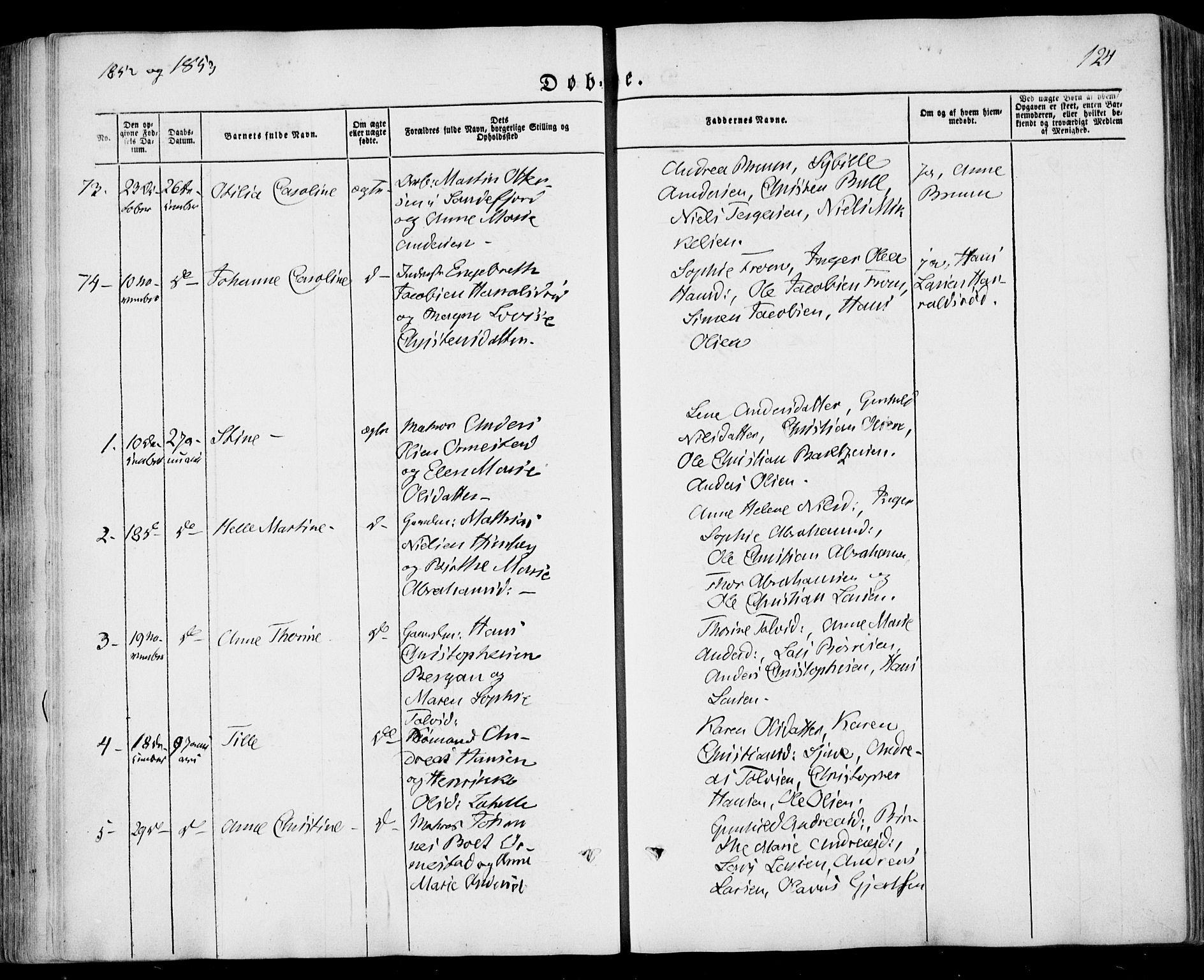 SAKO, Sandar kirkebøker, F/Fa/L0006: Ministerialbok nr. 6, 1847-1860, s. 124
