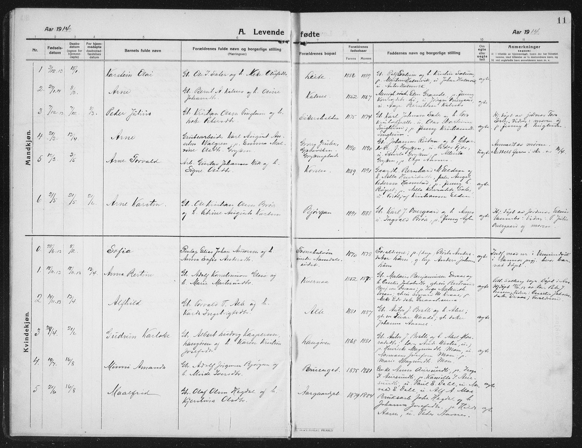 SAT, Ministerialprotokoller, klokkerbøker og fødselsregistre - Nord-Trøndelag, 742/L0413: Klokkerbok nr. 742C04, 1911-1938, s. 11