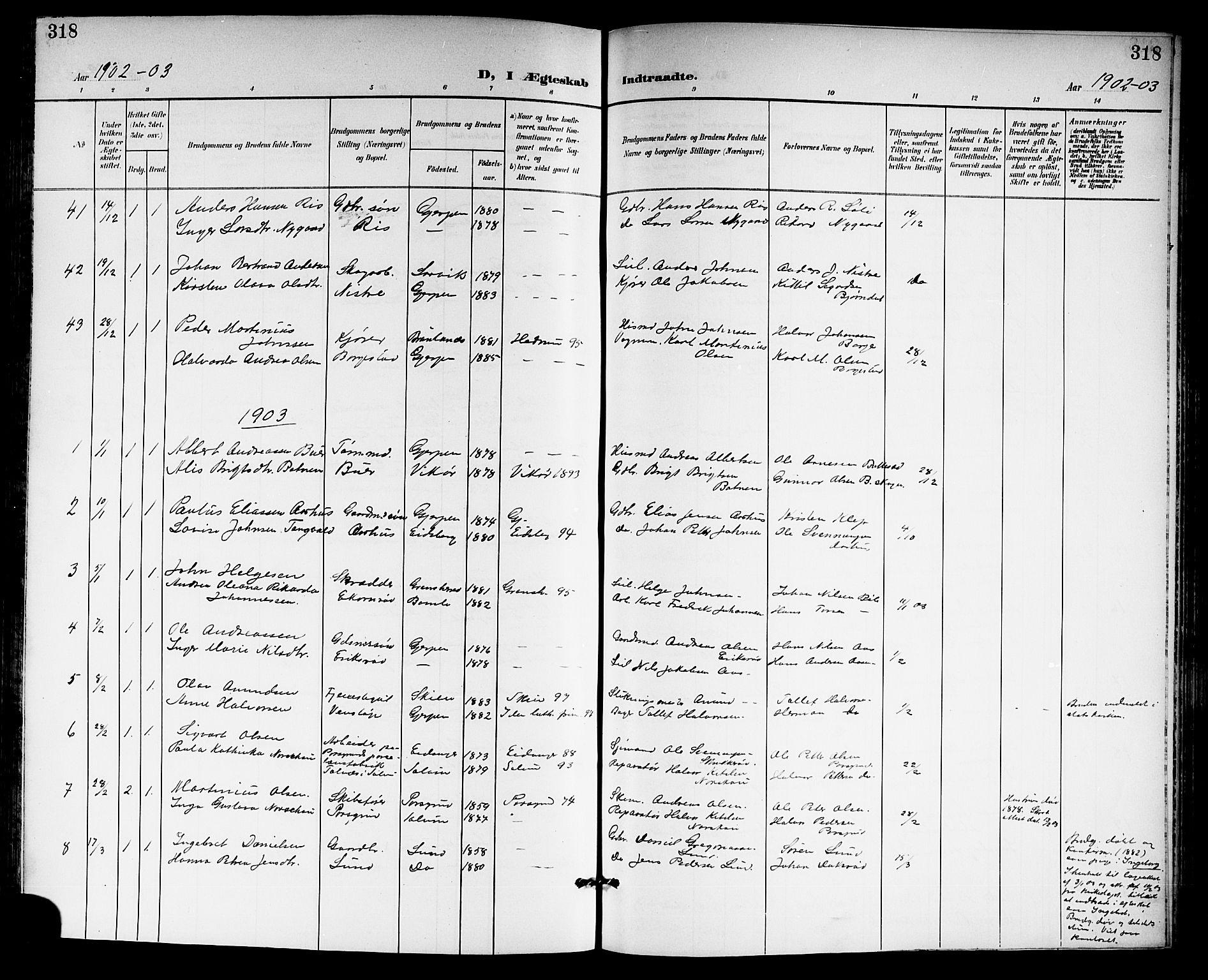 SAKO, Gjerpen kirkebøker, G/Ga/L0003: Klokkerbok nr. I 3, 1901-1919, s. 318