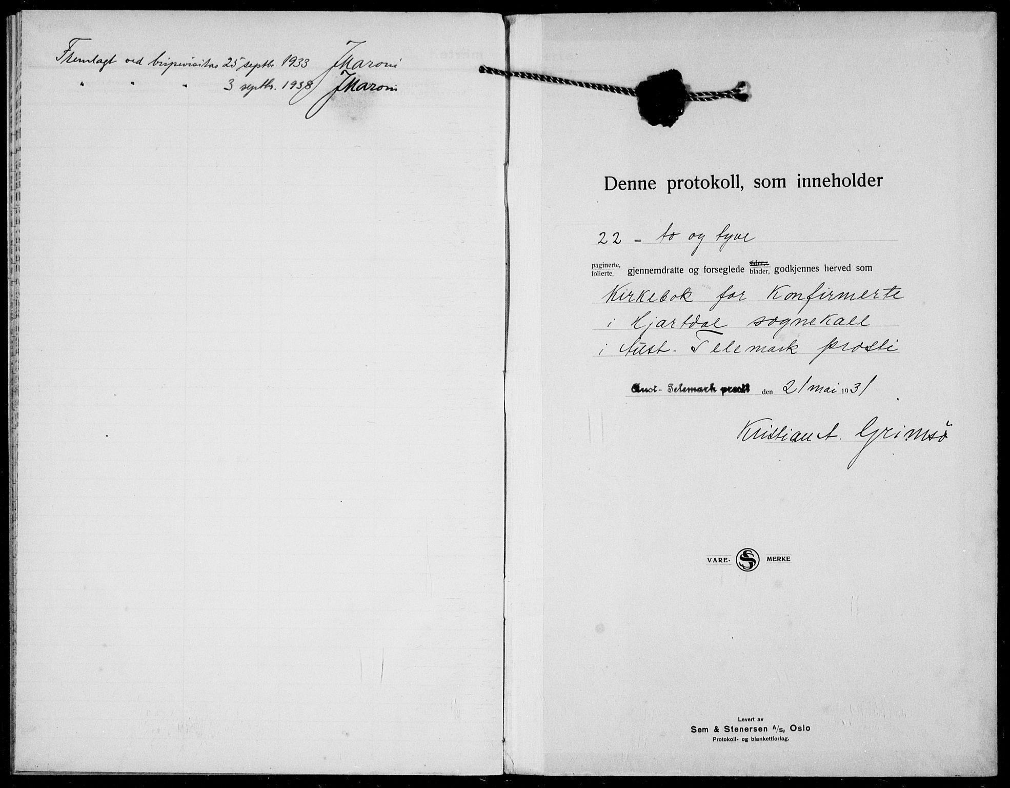 SAKO, Hjartdal kirkebøker, F/Fc/L0003: Ministerialbok nr. III 3, 1931-1936