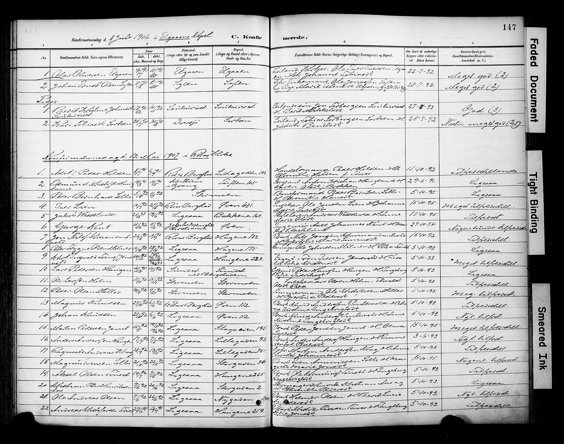 SAT, Ministerialprotokoller, klokkerbøker og fødselsregistre - Sør-Trøndelag, 681/L0936: Ministerialbok nr. 681A14, 1899-1908, s. 147