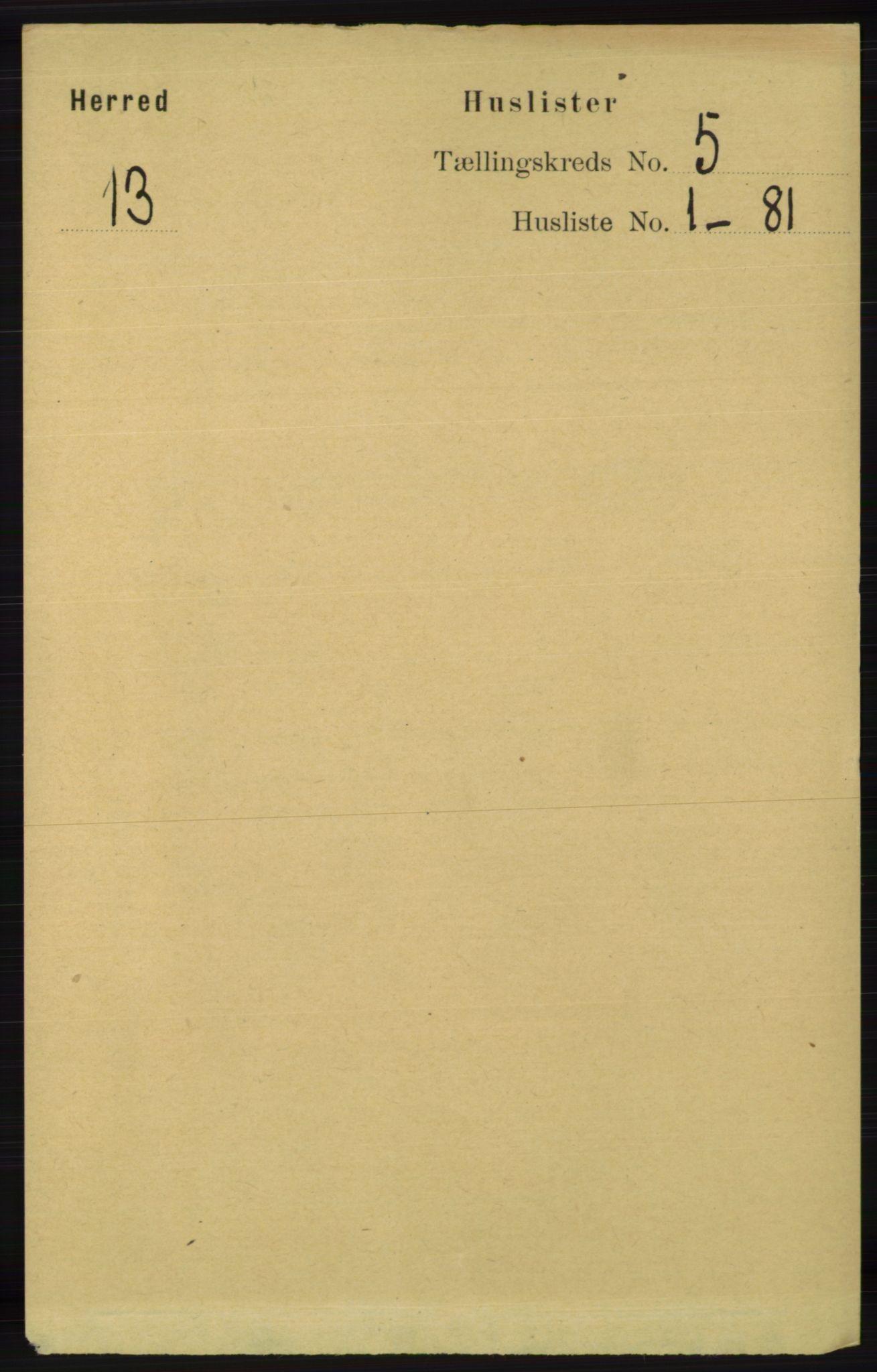 RA, Folketelling 1891 for 1039 Herad herred, 1891, s. 1726
