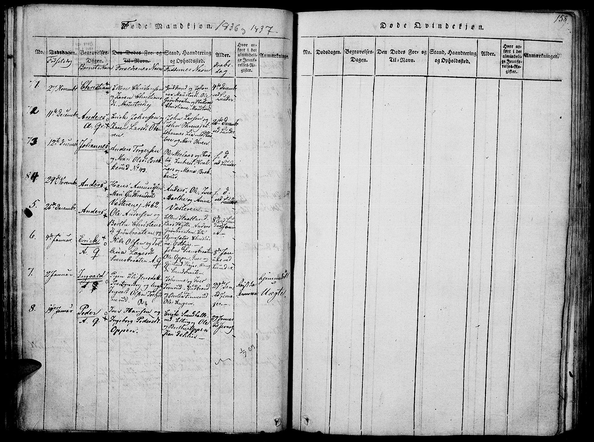 SAH, Jevnaker prestekontor, Ministerialbok nr. 5, 1815-1837, s. 158