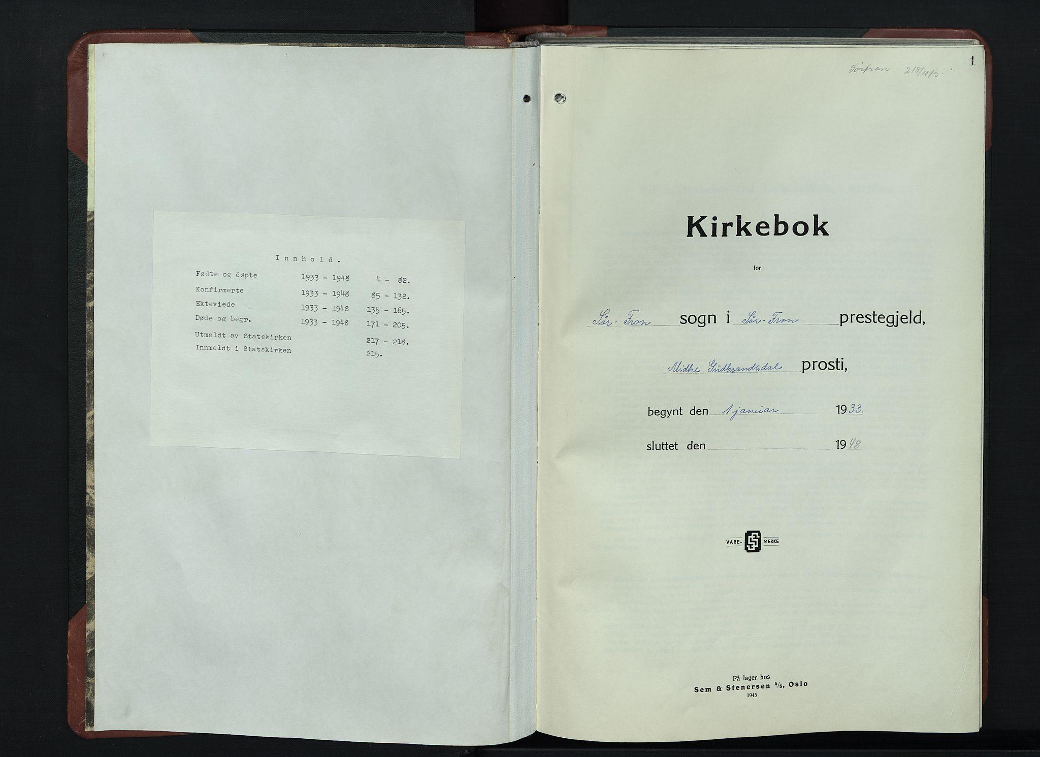 SAH, Sør-Fron prestekontor, H/Ha/Hab/L0006: Klokkerbok nr. 6, 1933-1948, s. 1