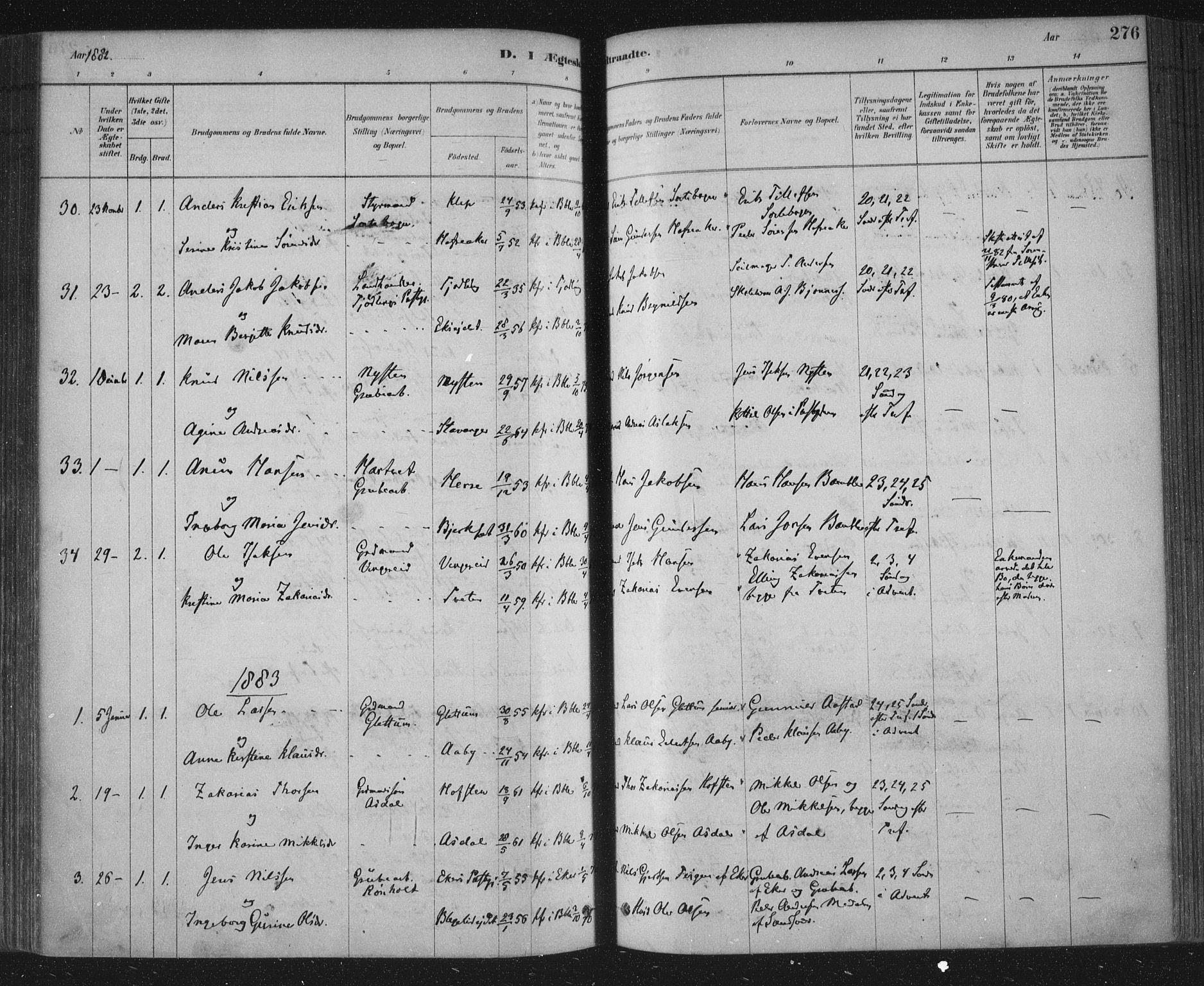 SAKO, Bamble kirkebøker, F/Fa/L0007: Ministerialbok nr. I 7, 1878-1888, s. 276