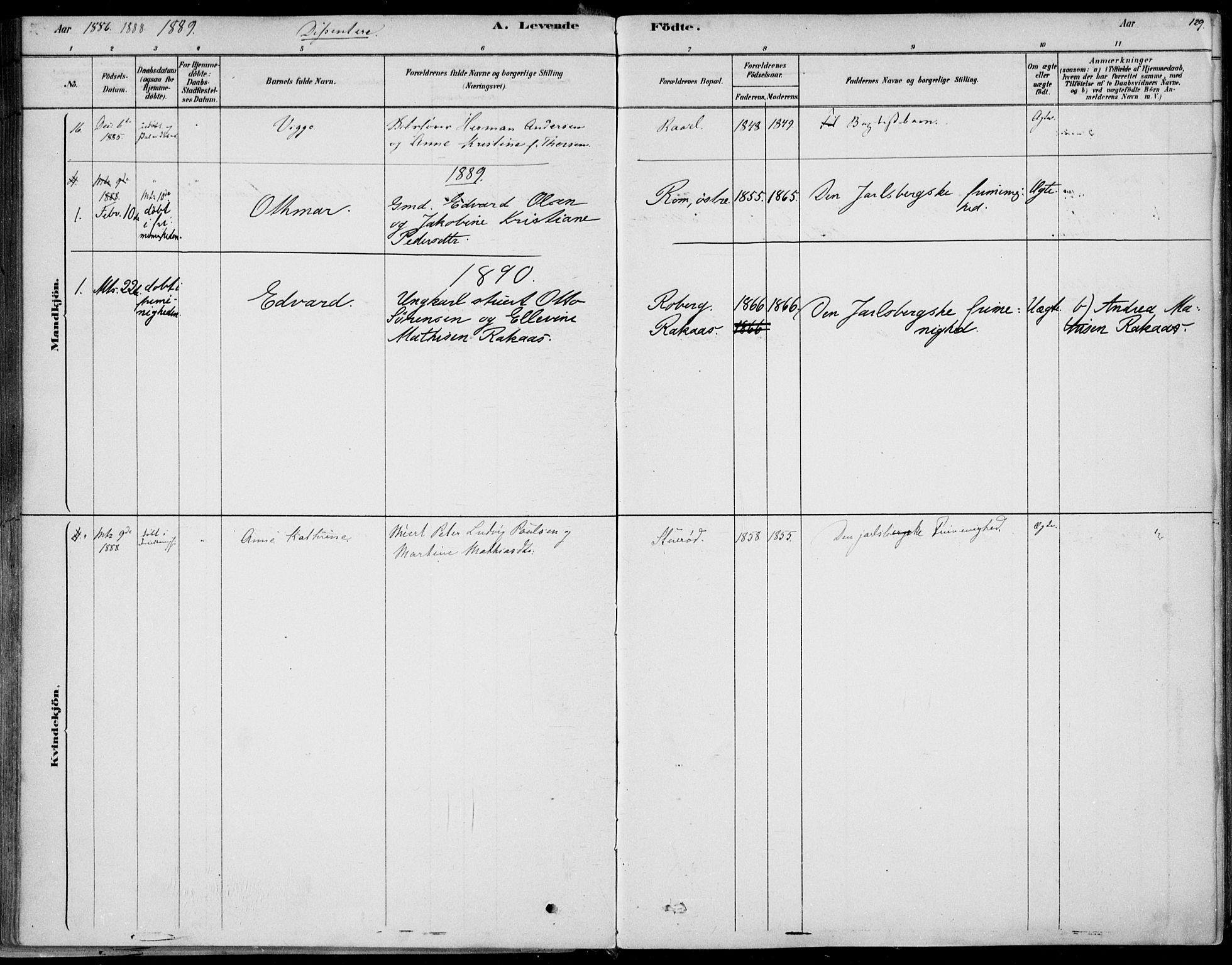 SAKO, Sem kirkebøker, F/Fb/L0004: Ministerialbok nr. II 4, 1878-1891, s. 129