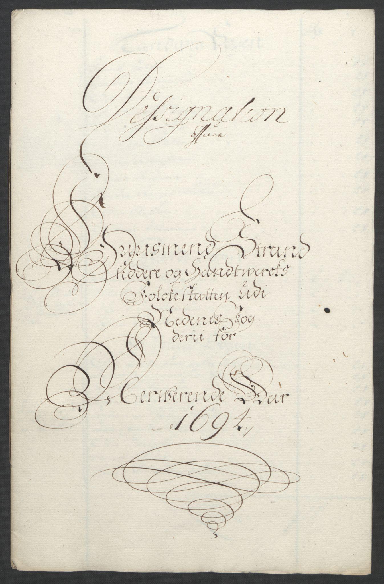 RA, Rentekammeret inntil 1814, Reviderte regnskaper, Fogderegnskap, R39/L2312: Fogderegnskap Nedenes, 1693-1695, s. 148