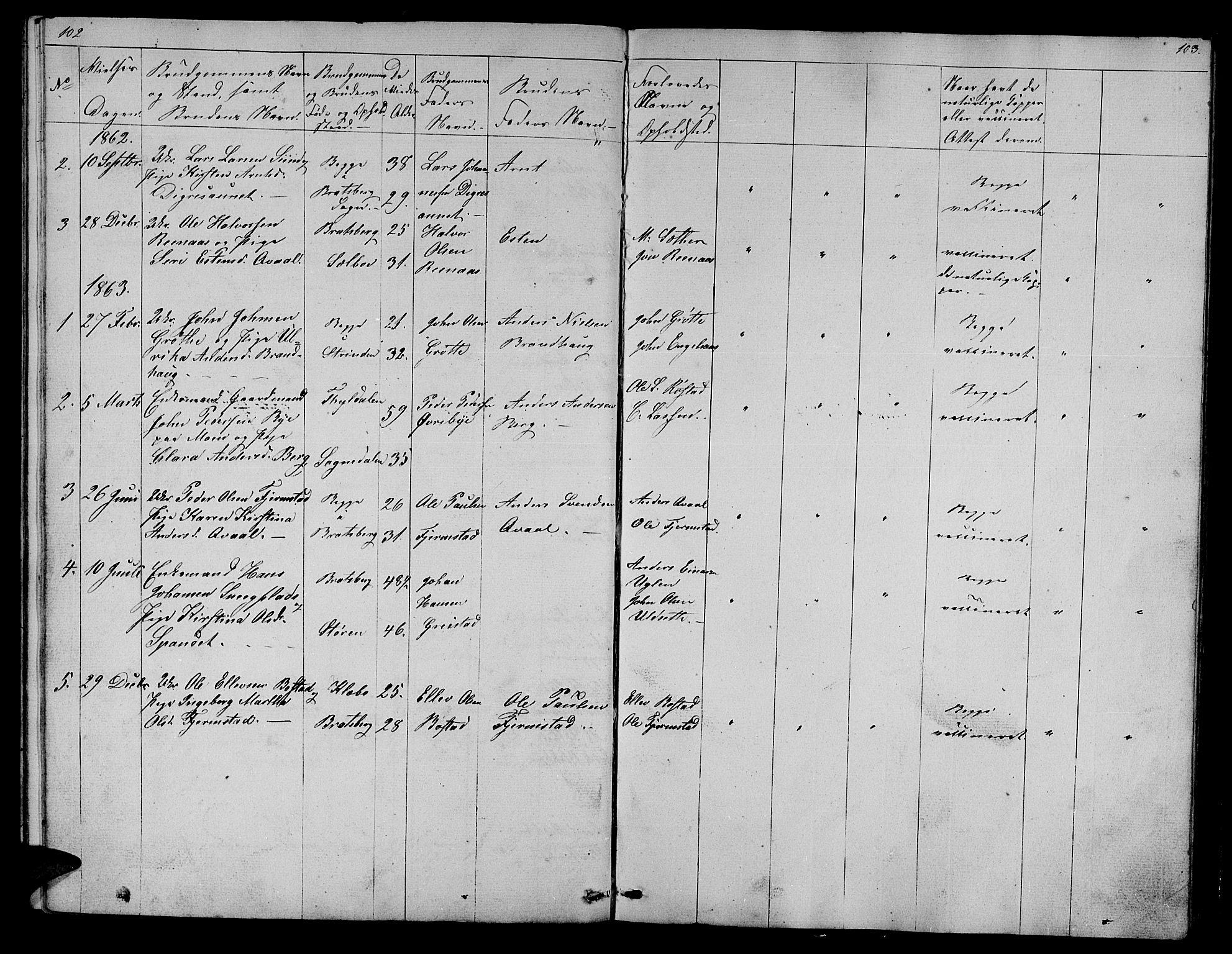 SAT, Ministerialprotokoller, klokkerbøker og fødselsregistre - Sør-Trøndelag, 608/L0339: Klokkerbok nr. 608C05, 1844-1863, s. 102-103