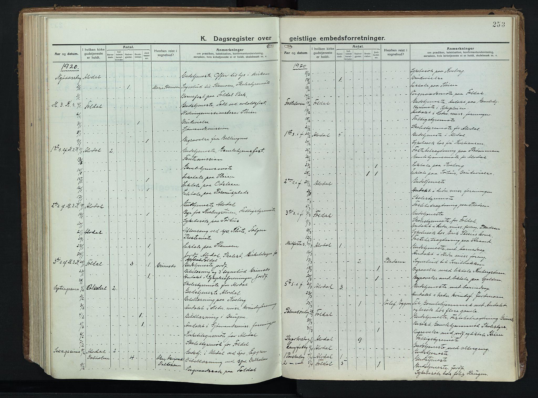SAH, Alvdal prestekontor, Ministerialbok nr. 6, 1920-1937, s. 253