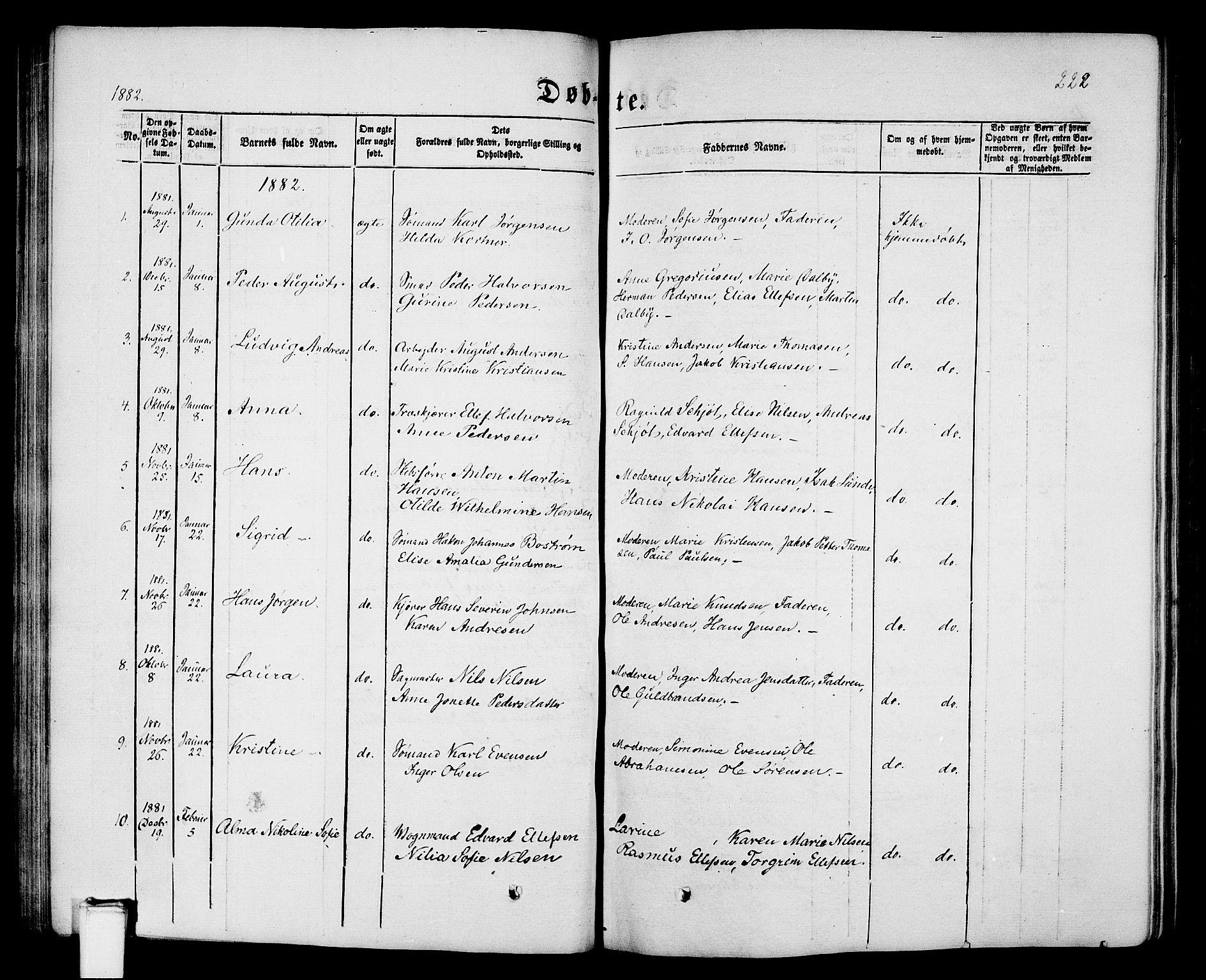 SAKO, Porsgrunn kirkebøker , G/Gb/L0004: Klokkerbok nr. II 4, 1853-1882, s. 222