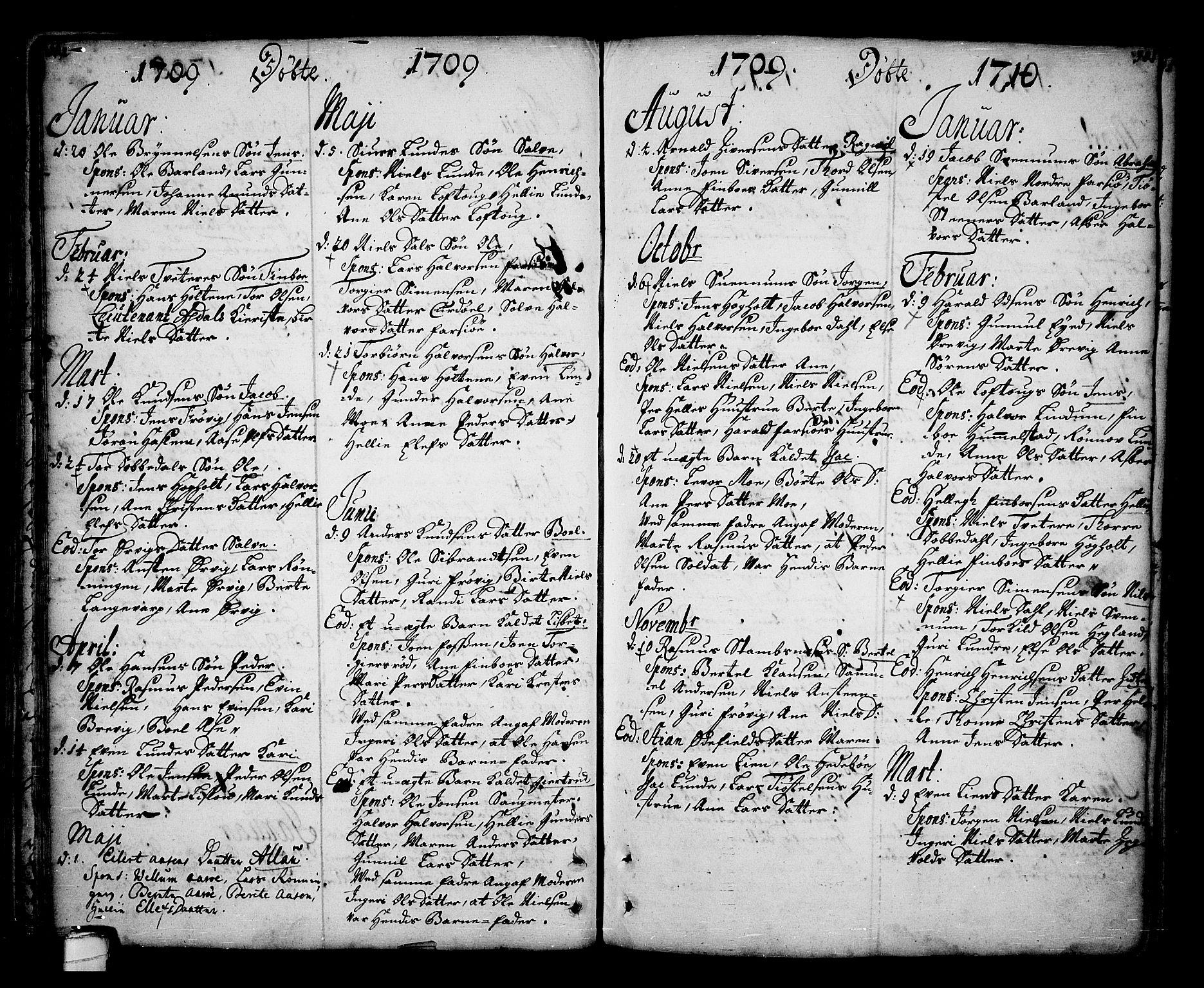 SAKO, Sannidal kirkebøker, F/Fa/L0001: Ministerialbok nr. 1, 1702-1766, s. 102-103