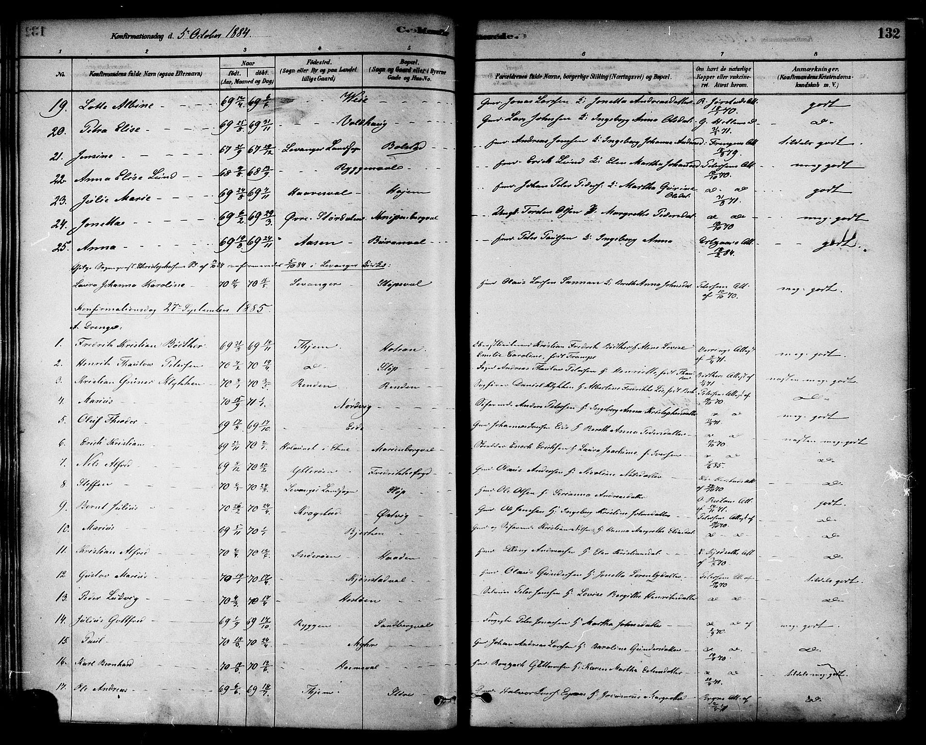 SAT, Ministerialprotokoller, klokkerbøker og fødselsregistre - Nord-Trøndelag, 717/L0159: Ministerialbok nr. 717A09, 1878-1898, s. 132